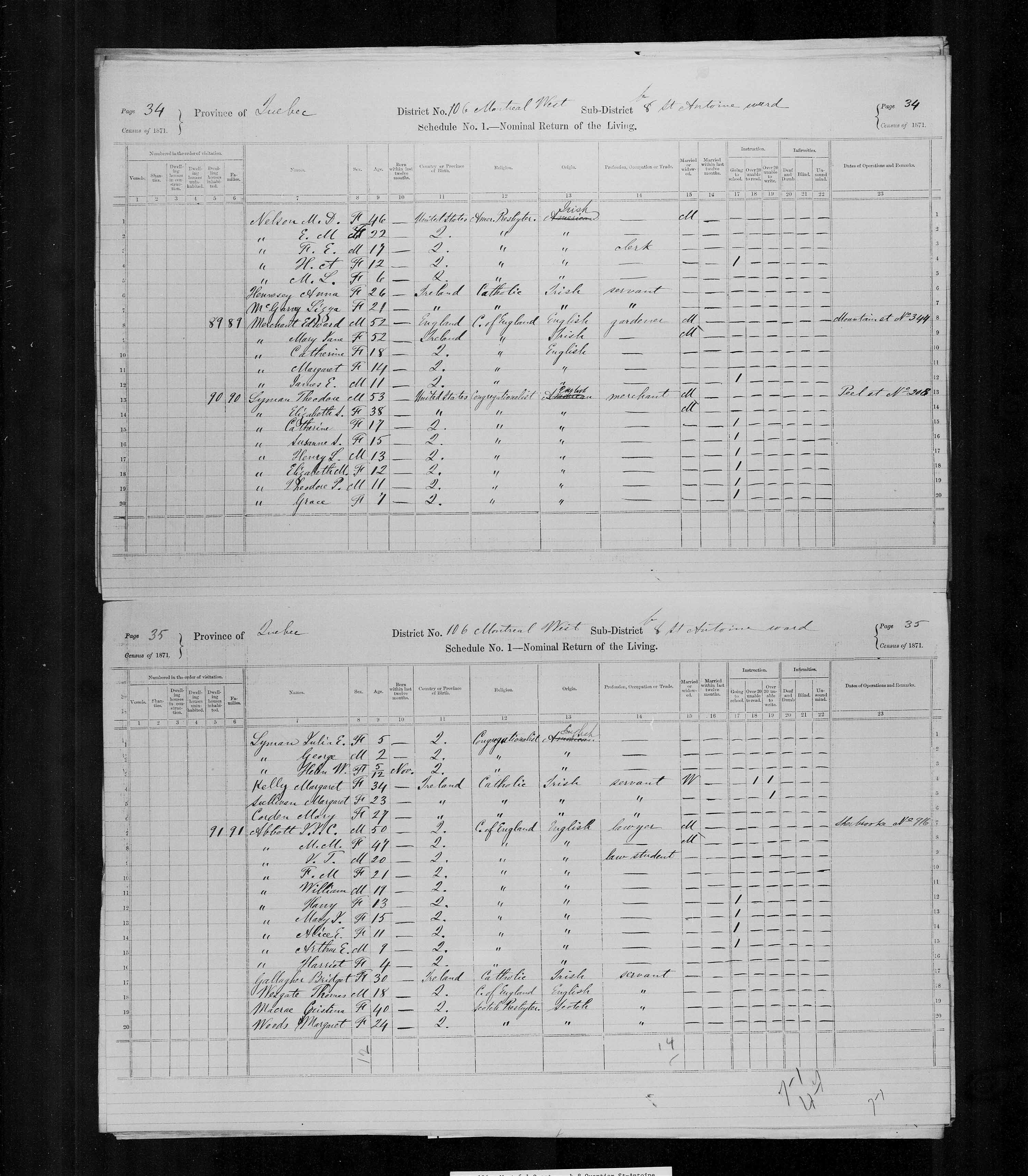 Digitized page of Census of Canada, 1871, Page number 35, for J. J. C. Abbott