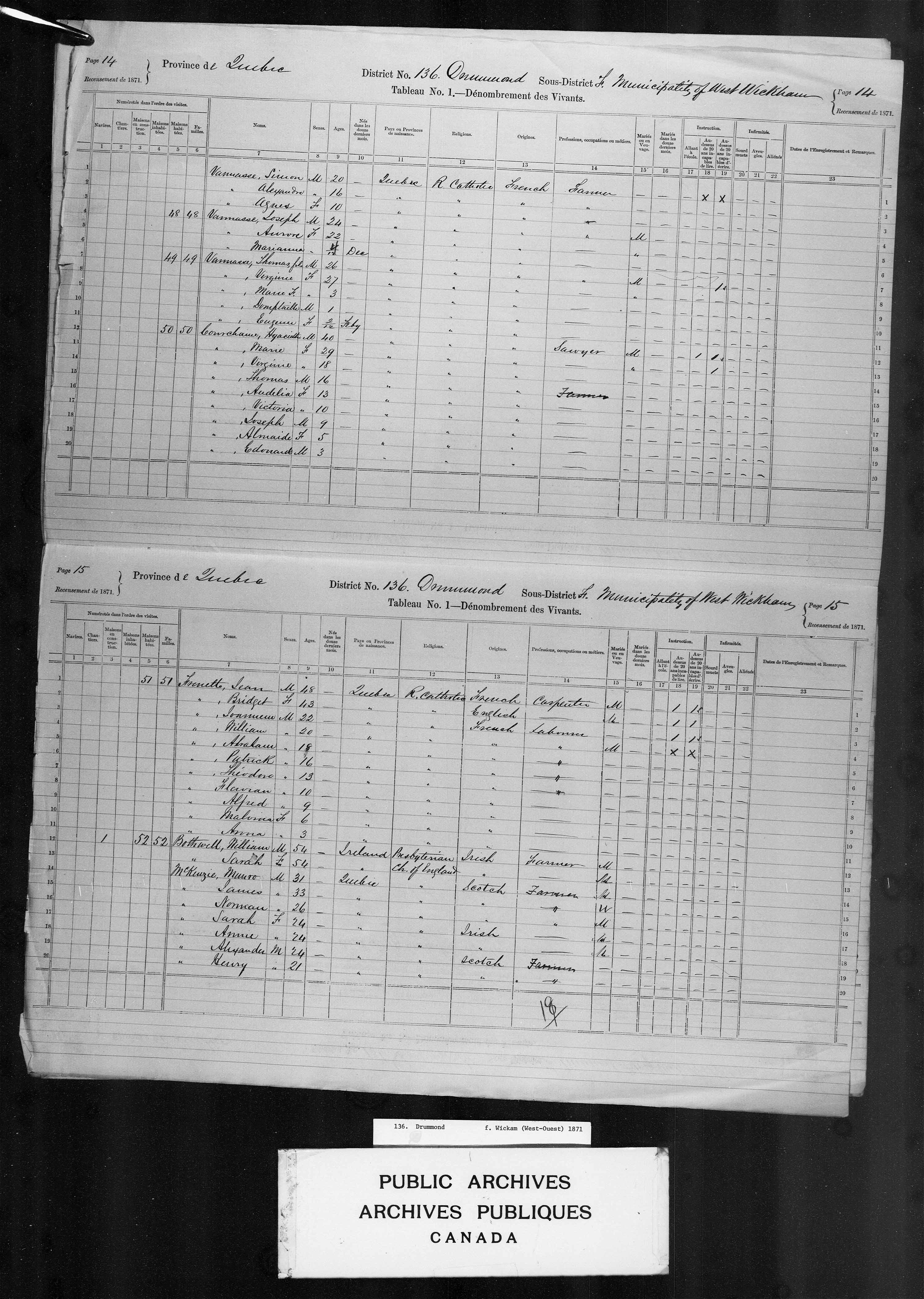 Page numérisée du Recensement du Canada (1871) pour l'image numéro 4395485_00316