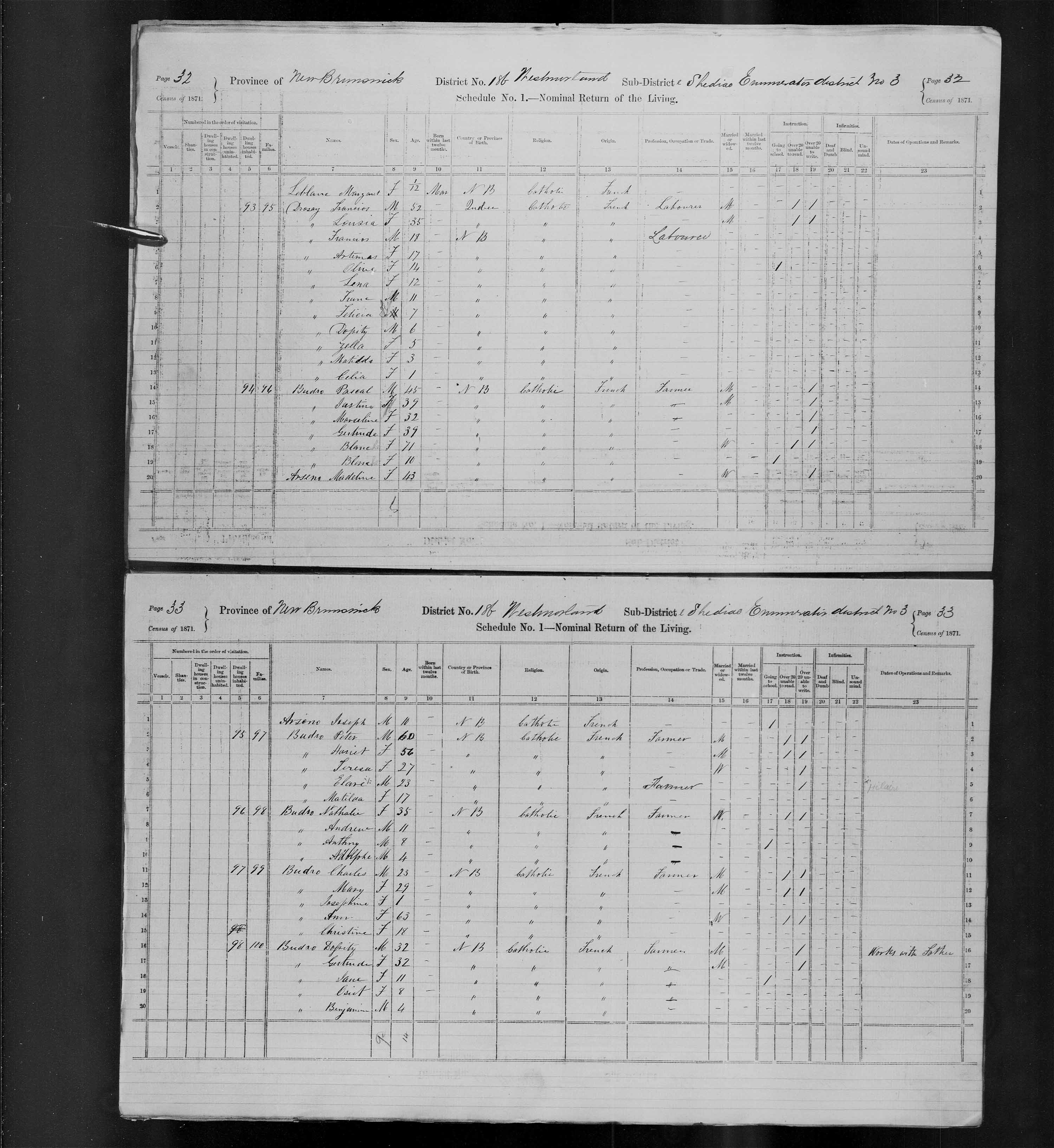 Digitized page of Census of Canada, 1871, Page number 33, for Nathalie Budro