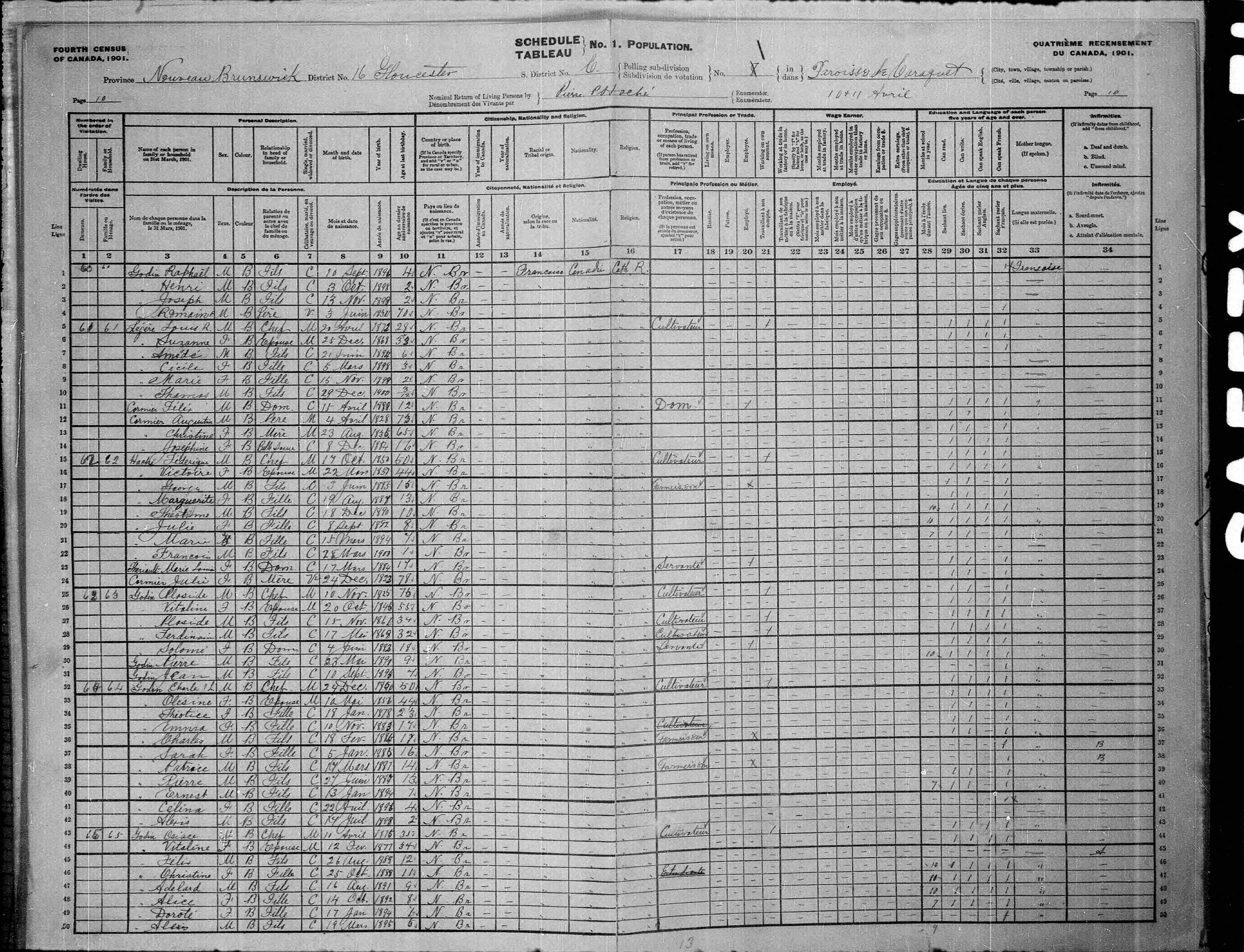 Digitized page of Census of Canada, 1901, Page number 10, for Louis R Légère