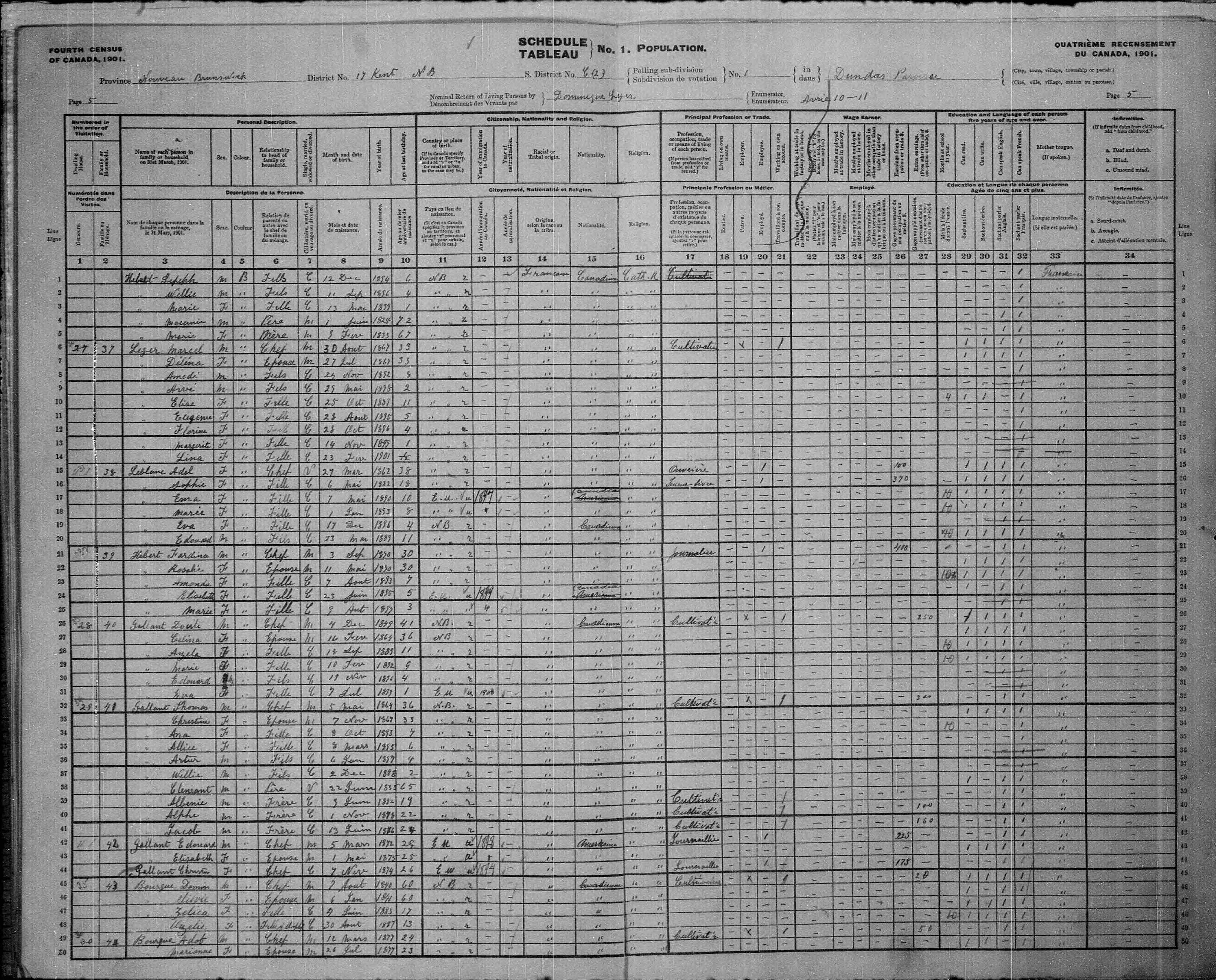 Digitized page of Census of Canada, 1901, Page number 5, for Thomas Gallant