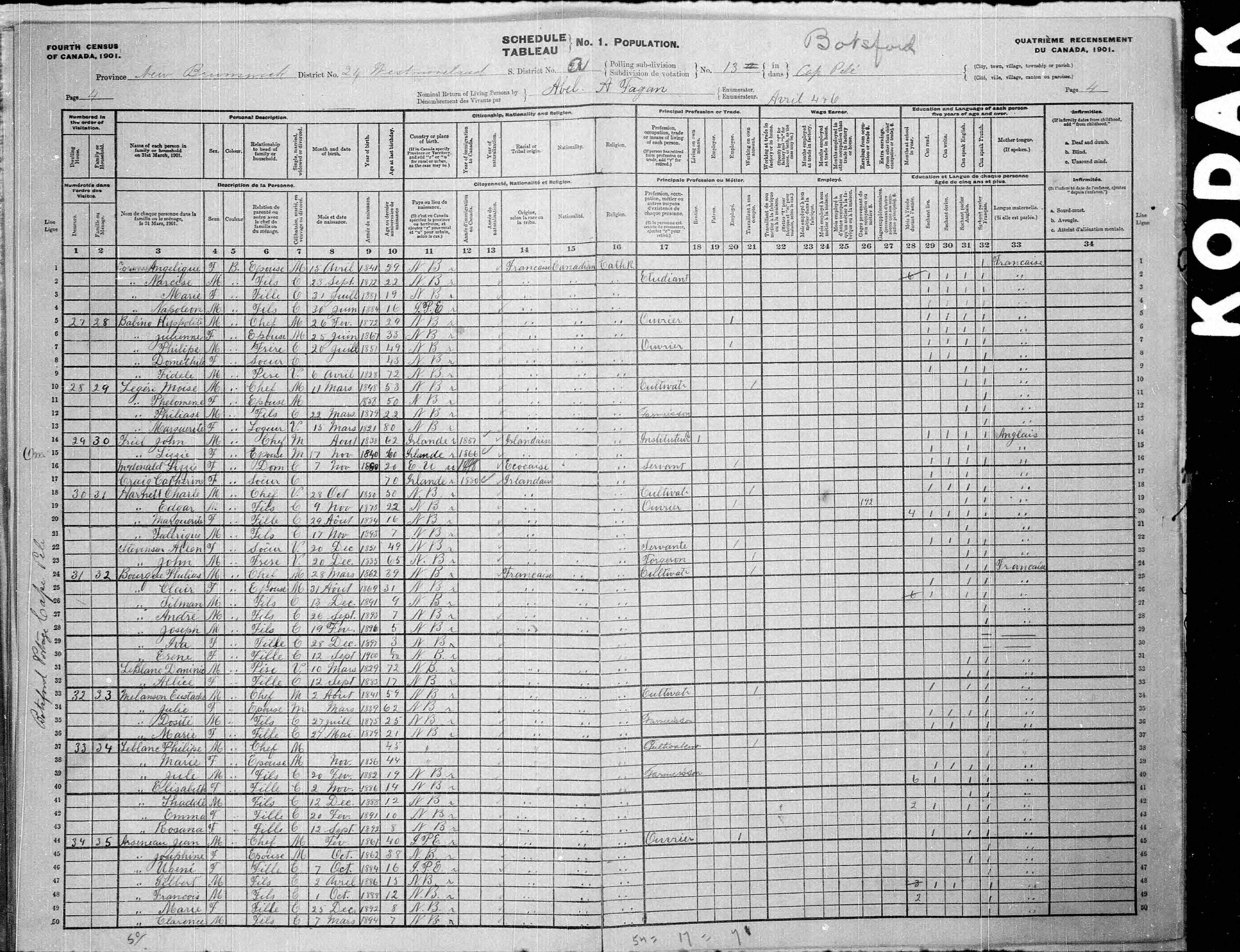 Digitized page of Census of Canada, 1901, Page number 4, for Moise Legére