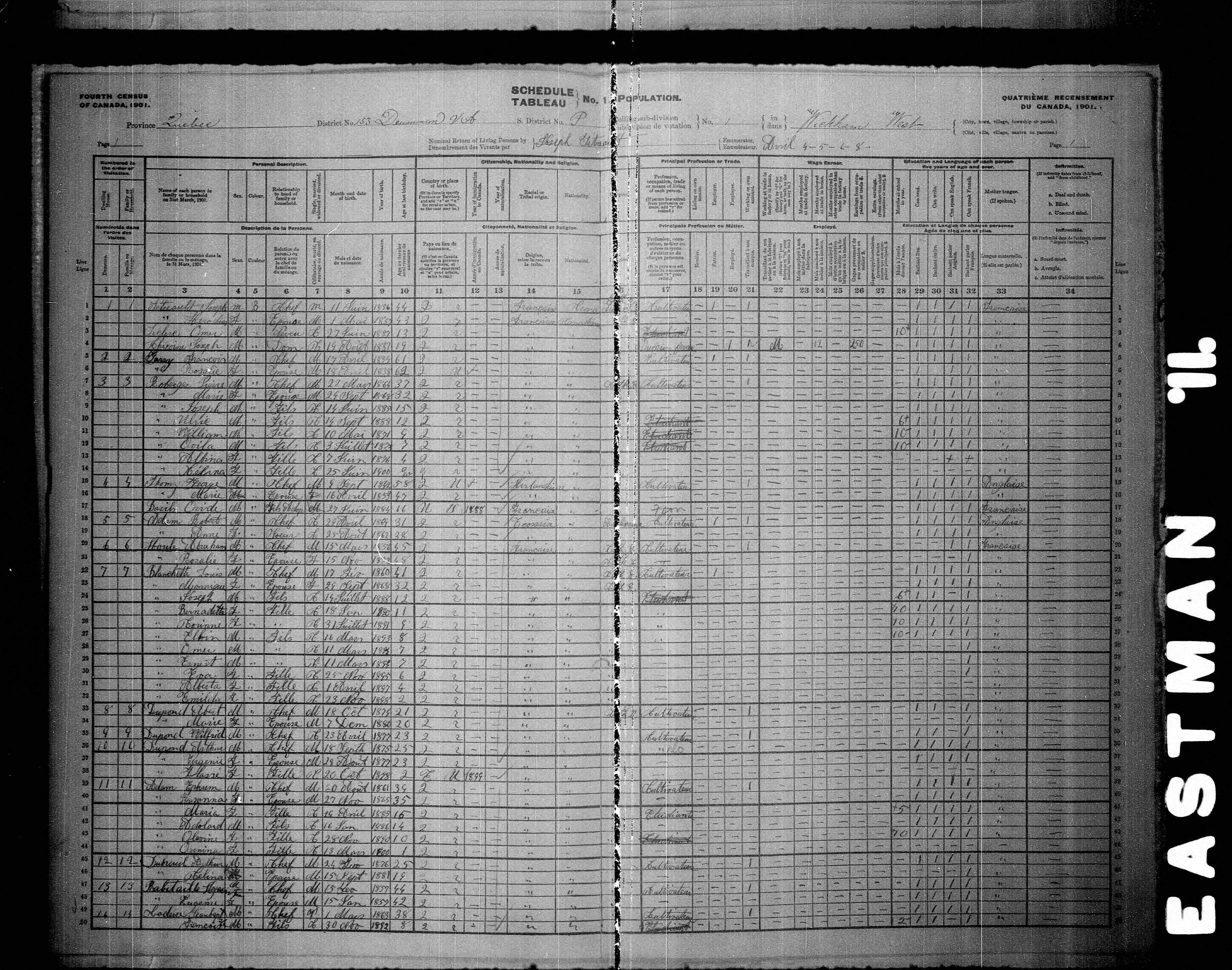 Page numérisée du Recensement du Canada (1901) pour l'image numéro z000137061