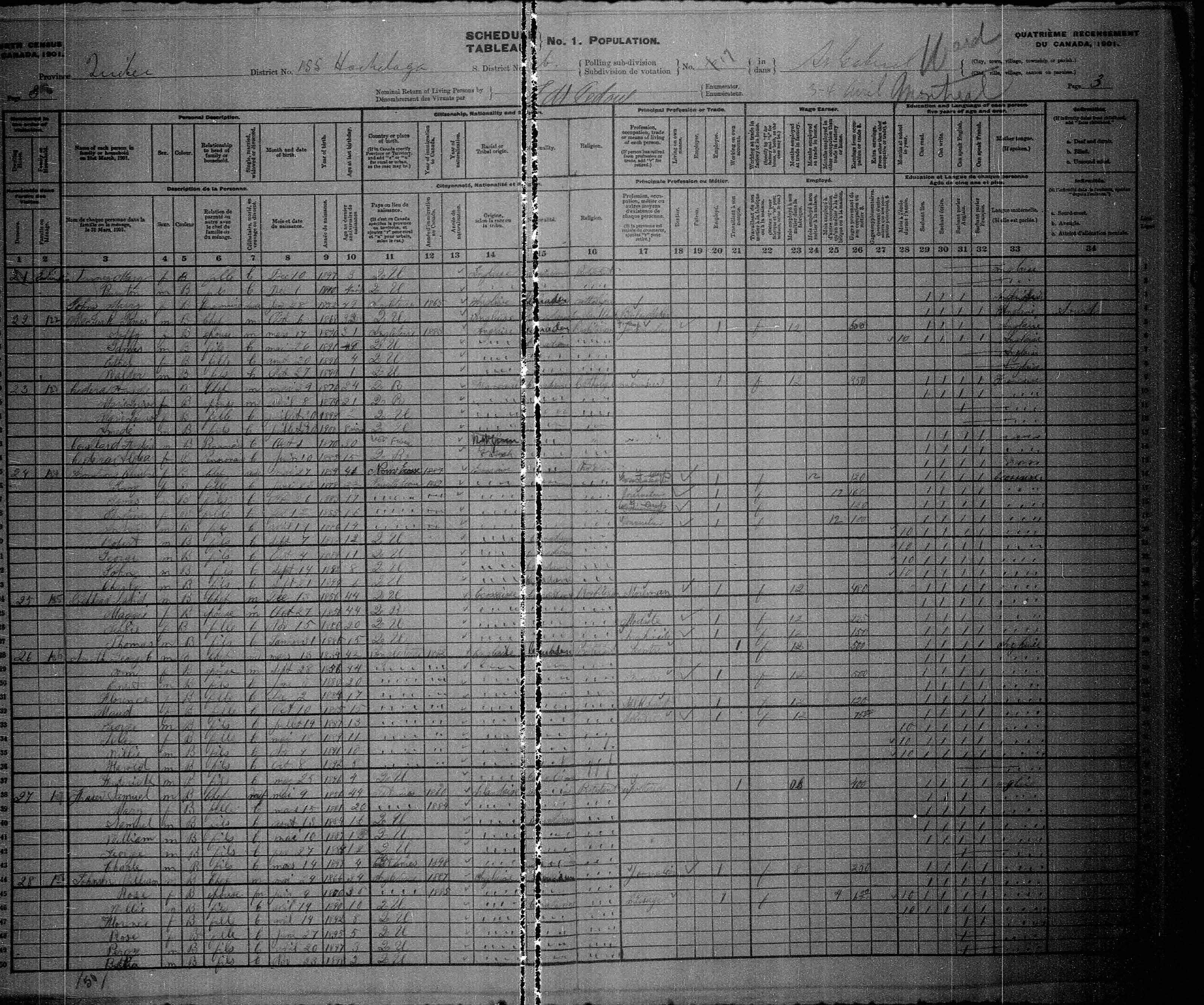Digitized page of Census of Canada, 1901, Page number 3, for George C Smith