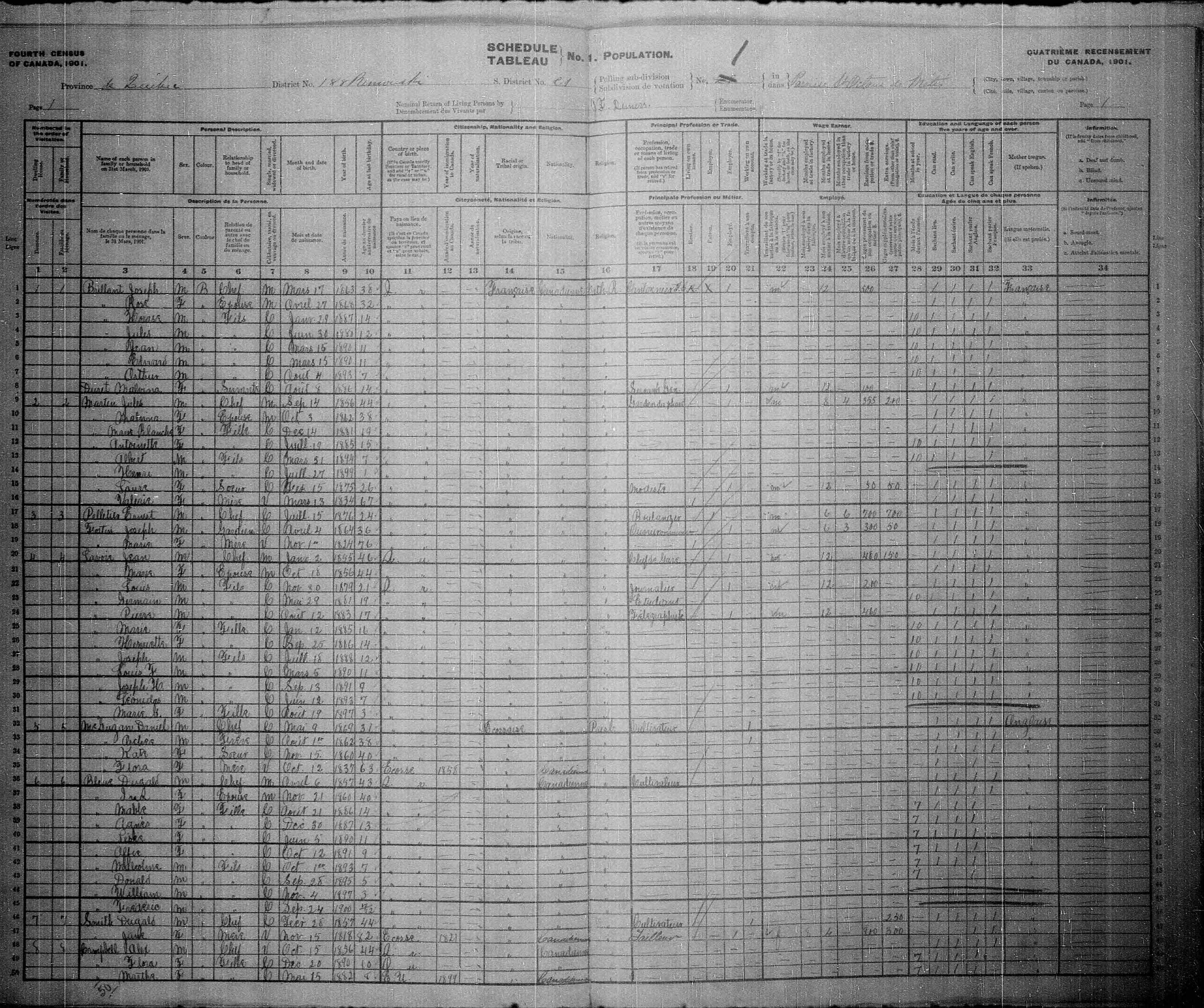 Digitized page of Census of Canada, 1901, Page number 1, for Jean Brillant