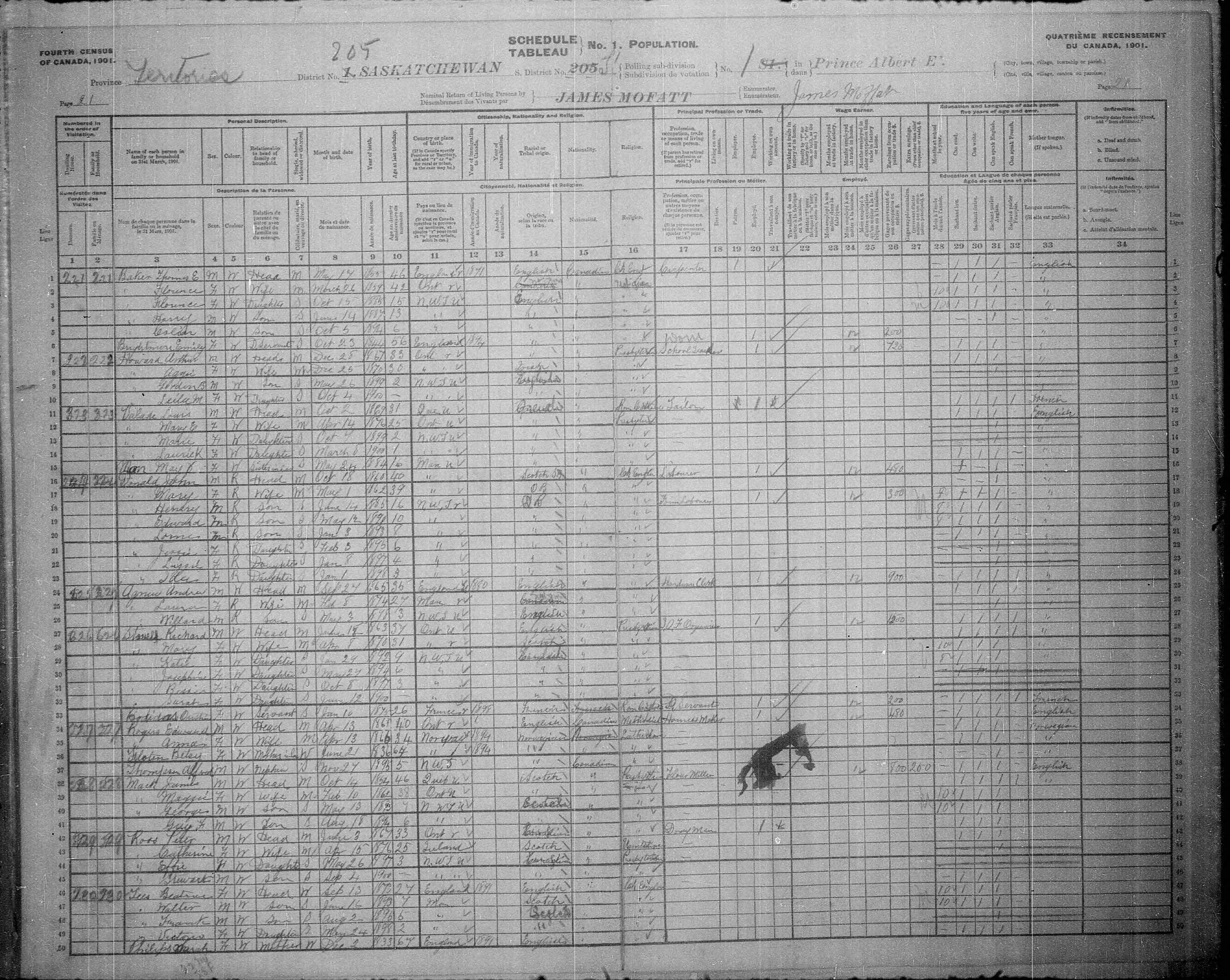 Digitized page of Census of Canada, 1901, Page number 21, for Anna Rogers