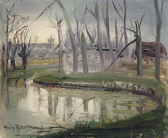 Canal, Cambrai, 1920. Oil on commercial canvas board. 21.8 x 26.9 cm.