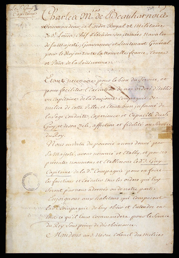Commission of captain of the 12th Company of the Montréal Militia, granted to Pierre Guy, by Charles de Beauharnois de la Boische, Governor of New France, July 30, 1743, CA ANC MG23-GIII28