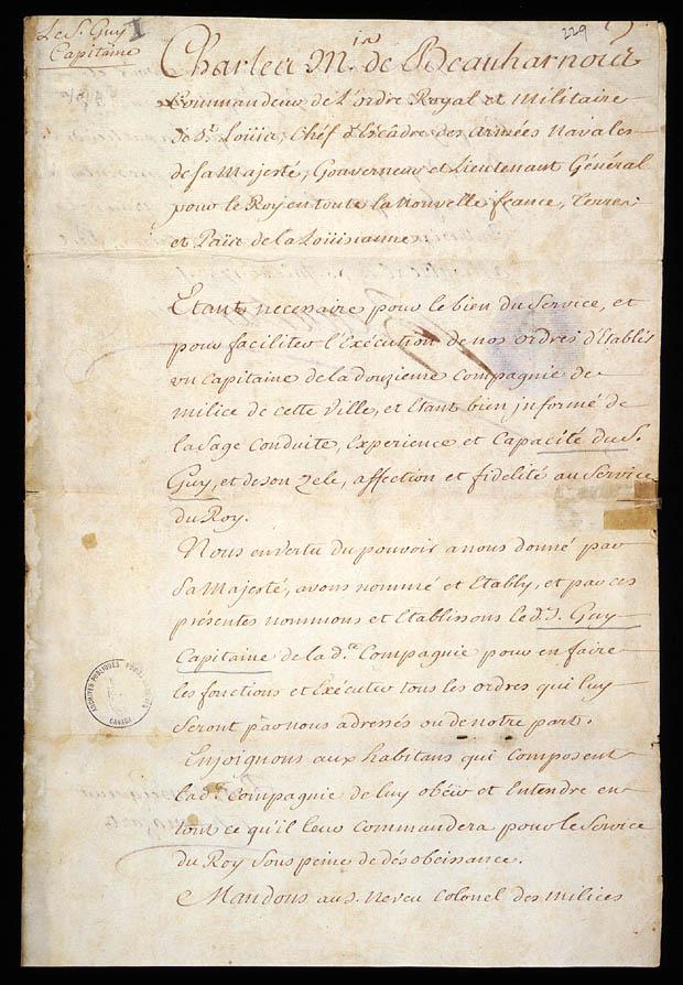 Commission de capitaine de la douzième compagnie de milice de Montréal accordée à Pierre Guy par Charles de Beauharnois de la Boische, gouverneur de la Nouvelle-France, 30 juillet 1743. CA ANC MG23-GIII28