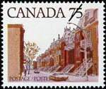 White 75-cent stamp with a colour illustration of a street lined with row houses, each with an outside staircase leading to the second floor