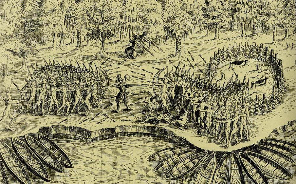 [Defeat of the Iroquois of Lake Champlain], illustration from Les voyages du sieur de Champlain Xaintongeois..., Paris, Jean Berjon, 1613, CA BNC Réserve FC330 C3 1613