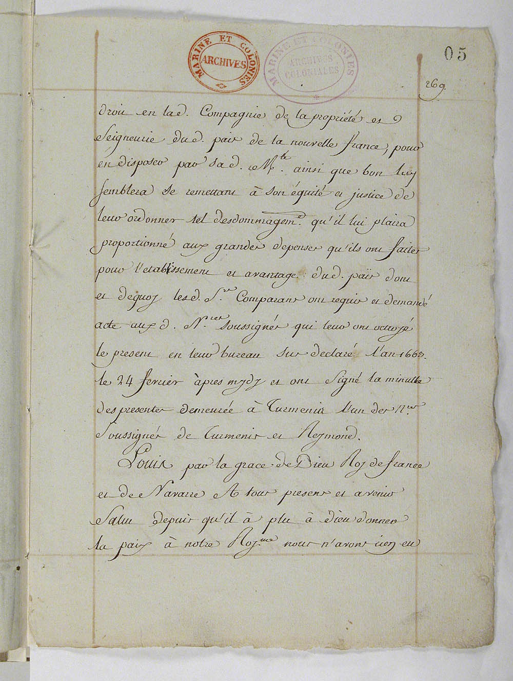 Declaration from the King, reassuming possession of New France, March 1663, FR CAOM COL C11A 2 fol. 5-7