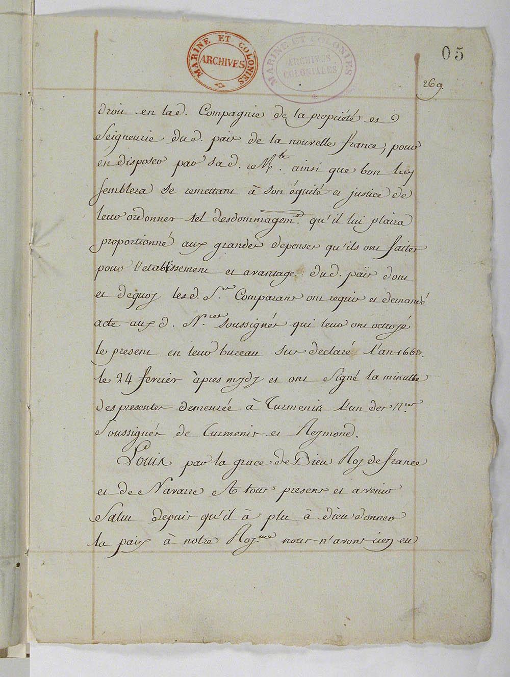Déclaration du roi qui reprend possession de la Nouvelle-France, mars 1663. FR CAOM COL C11A 2 fol. 5-7