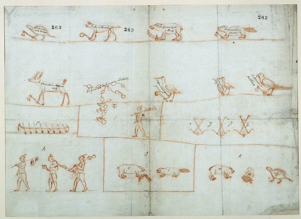Mémoire au sujet des neuf familles iroquoises et totems de famille, 1666. FR CAOM COL C11A 2 fol. 263-269