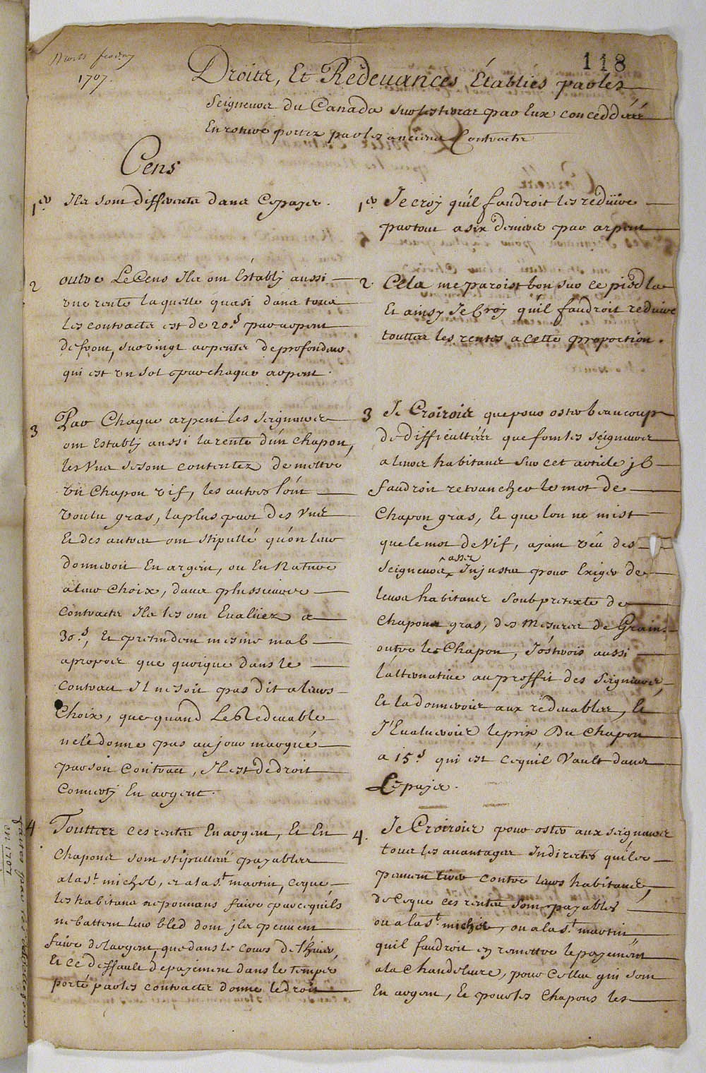 Report [of Intendant Jacques Raudot] proposing various changes to the rights and obligations established by the seigneurs of Canada, ca. 1707, FR CAOM COL C11A 27 fol. 118-119vo