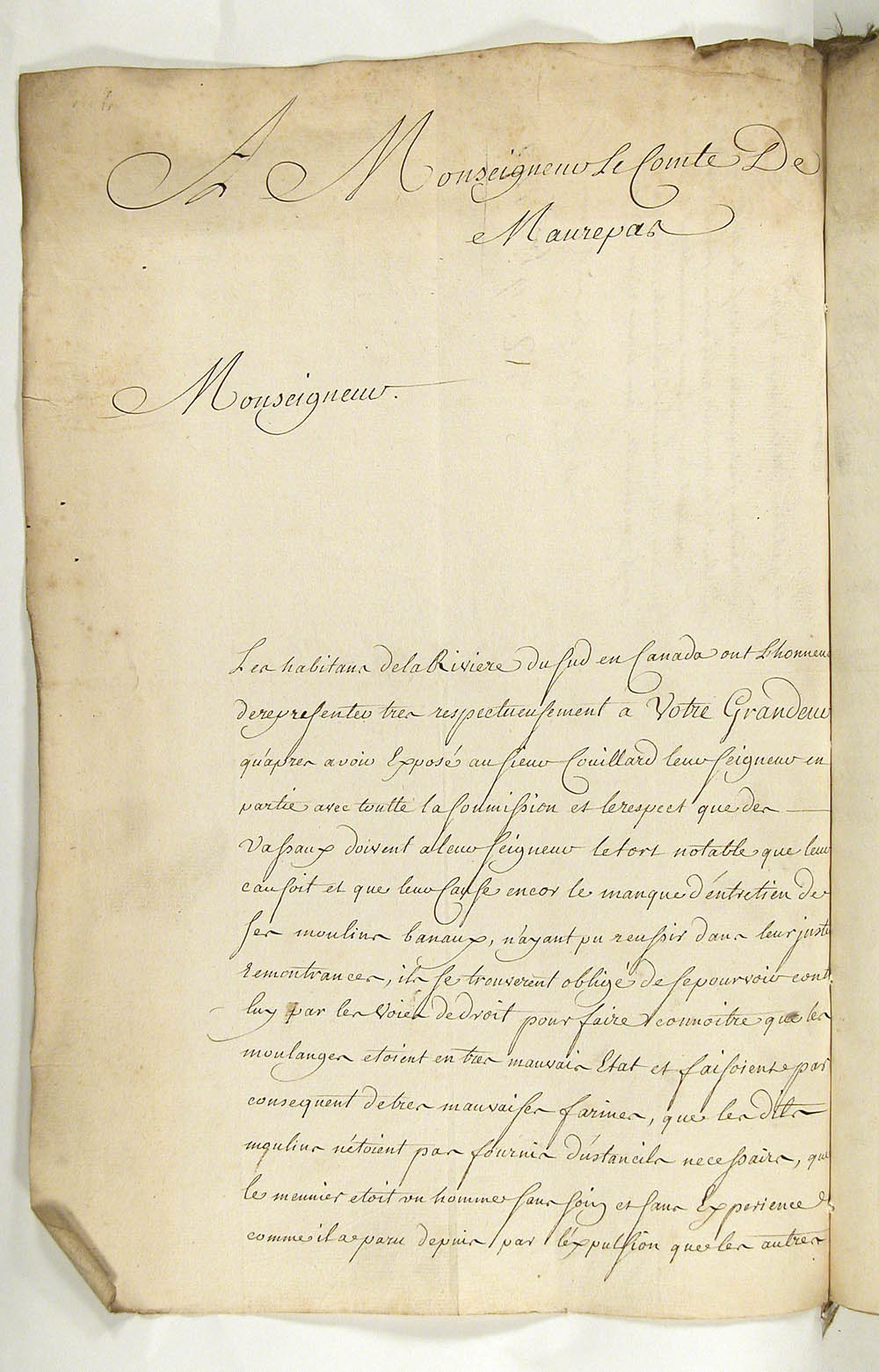 Petition to the Secretary of State for the Marine, Jean-Frédéric Phélypeaux, Comte de Maurepas, by Michel Morin, on behalf of the habitants of the Rivière du Sud, concerning the poor maintenance of the communal mills by the seigneur, Charles-Marie Couillard de Beaumont, ca. 1743   FR CAOM COL C11A 81 fol. 104-105vo