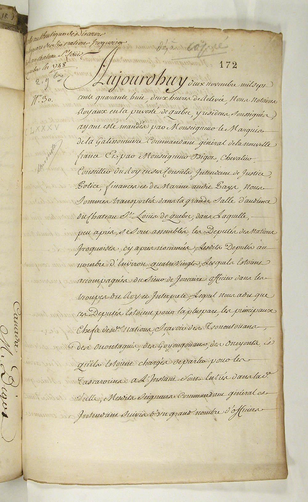 Procès-verbal d'une assemblée tenue avec les députés iroquois au château Saint-Louis, 2 novembre 1748. FR CAOM COL C11A 92 fol. 172-175