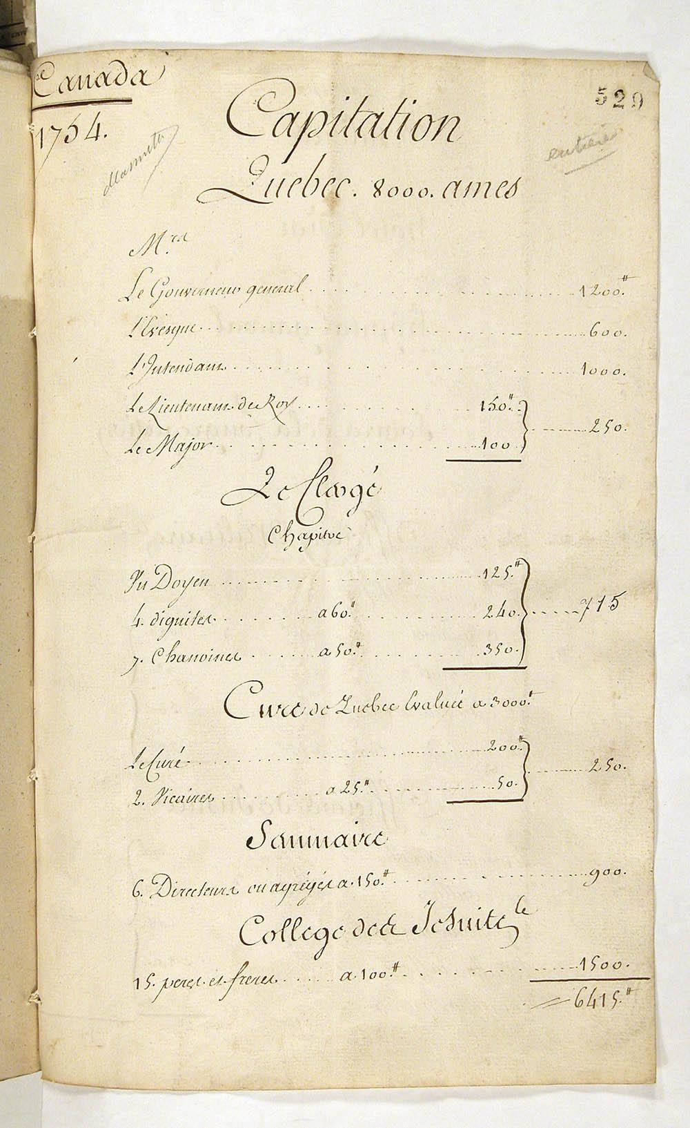 Plan to introduce capitation in Canada, 1754, FR CAOM COL C11A 99 fol. 529-533vo