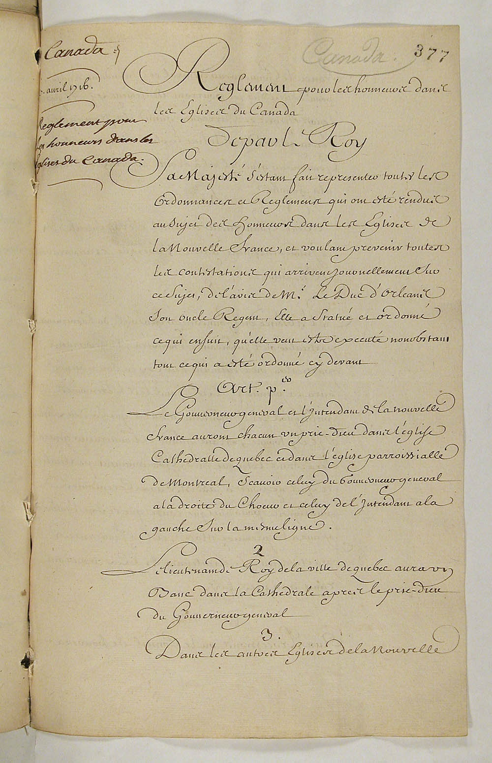 Regulation concerning honours in the Churches of Canada, April 27, 1716, FR CAOM COL C11A 106 fol. 377-380