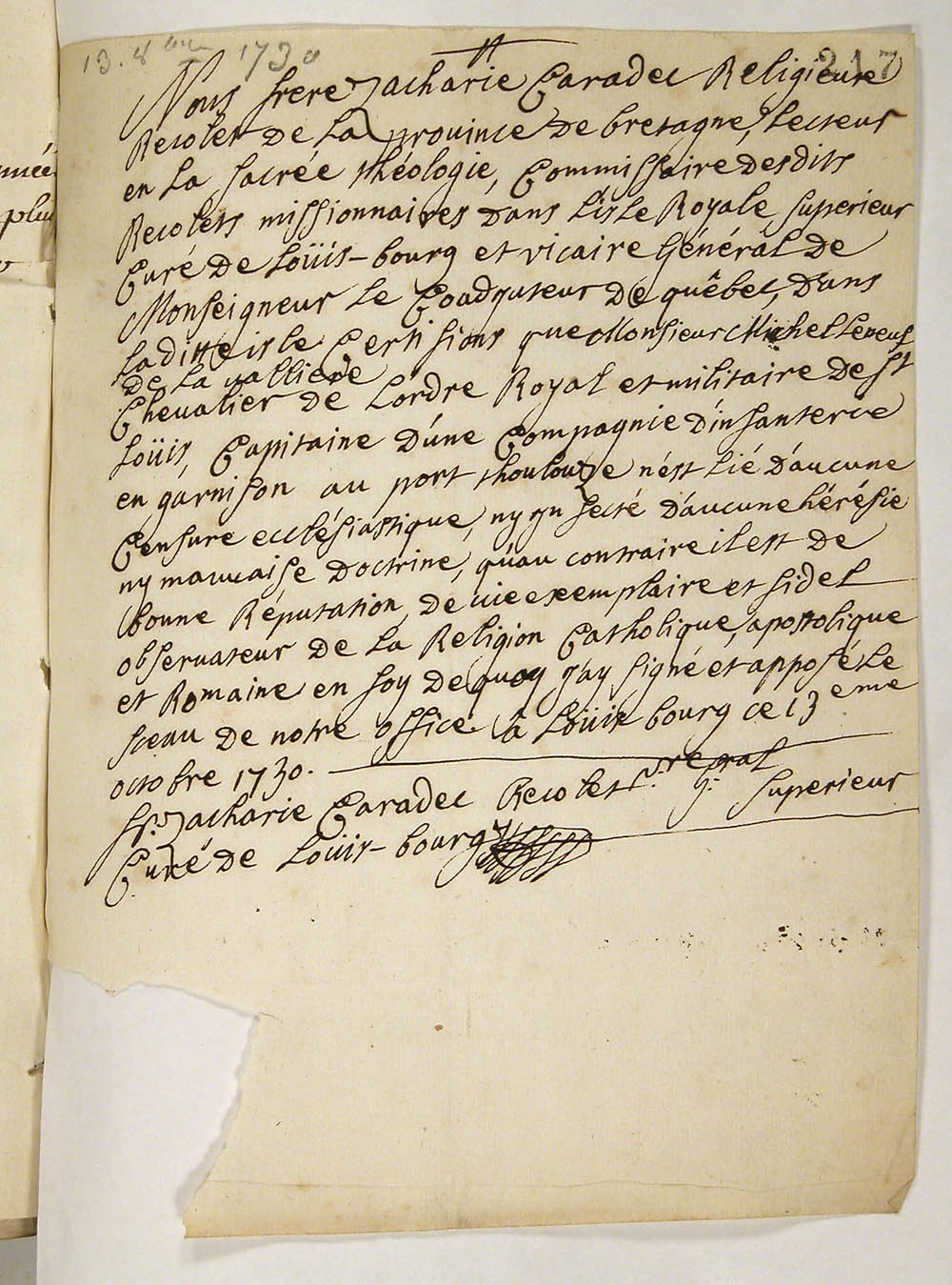 Certificate of Catholicity issued to Sieur Michel Leneuf de La Vallière, captain in Port-Toulouse, October 13, 1730, FR CAOM COL C11B 11 fol. 217