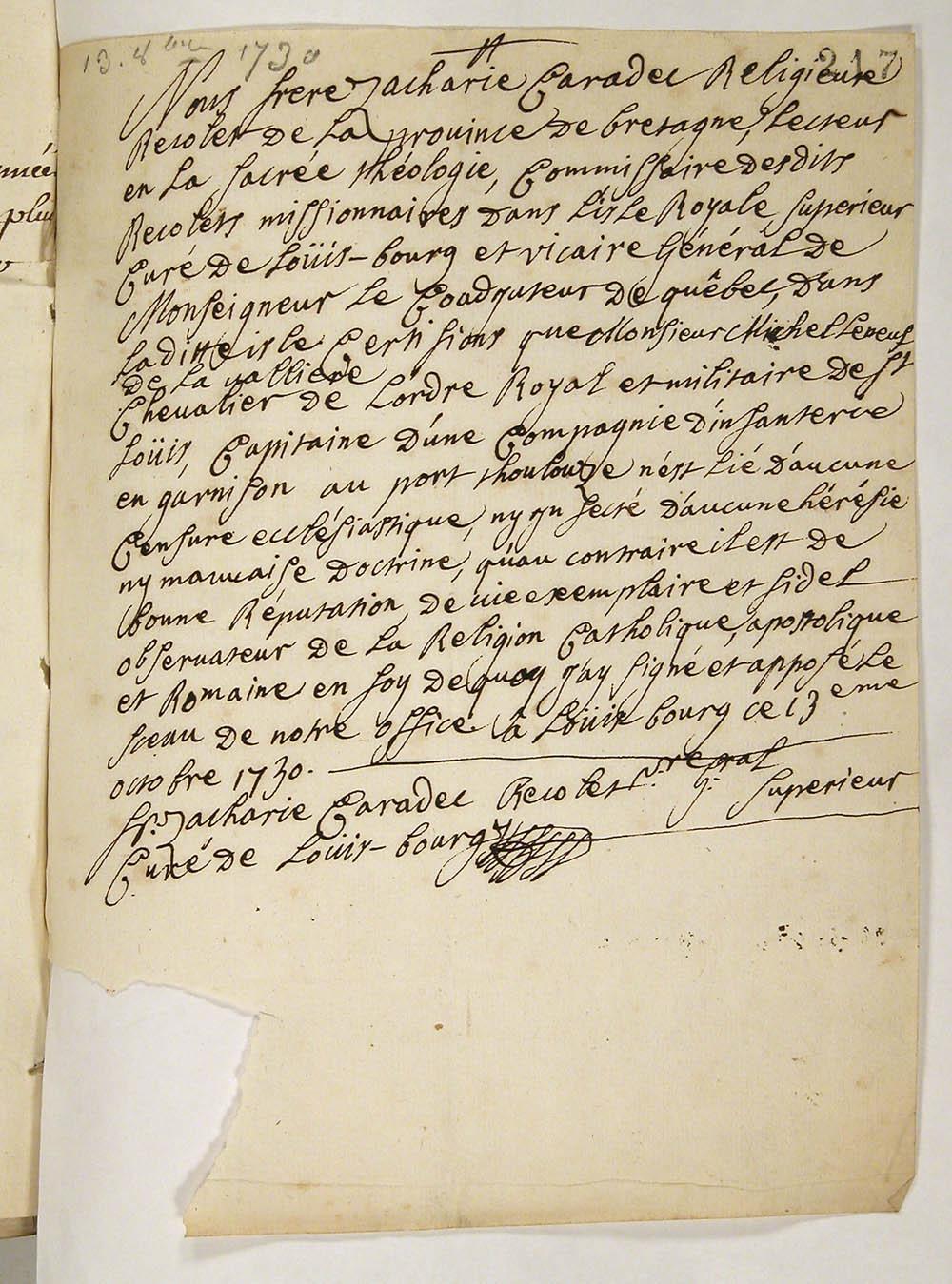 Certificat de catholicité remis au sieur Michel Leneuf de La Vallière, capitaine à Port-Toulouse, 13 octobre 1730. FR CAOM COL C11B 11 fol. 217