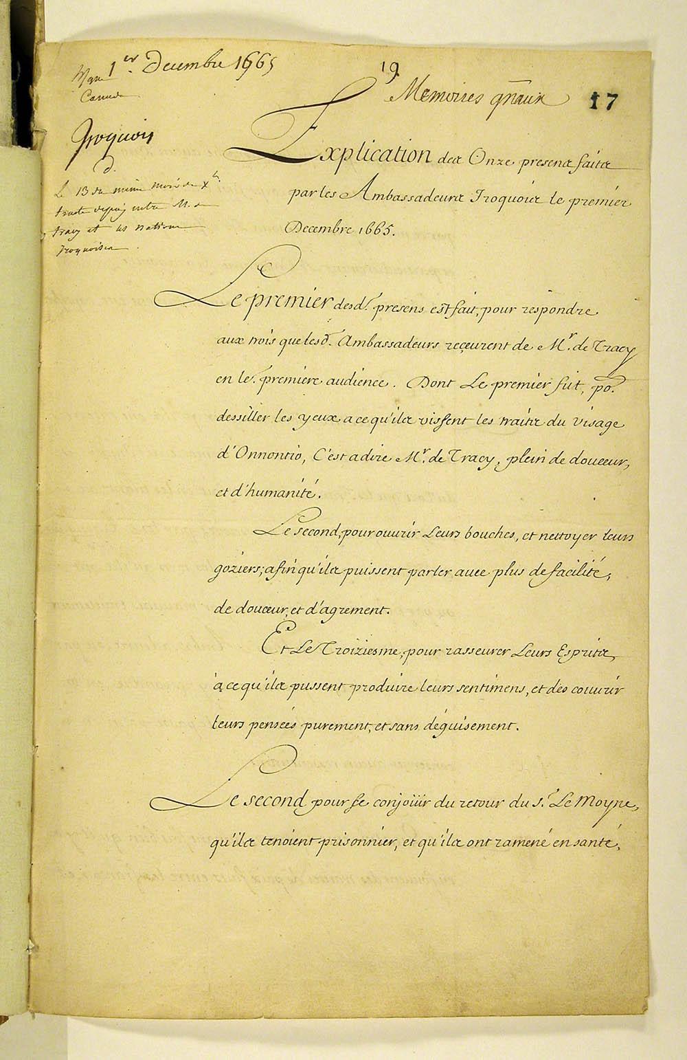 Explication des onze presens faits par les Ambassadeurs Iroquois, 1er décembre 1665. FR CAOM COL F3 2 fol. 17-20