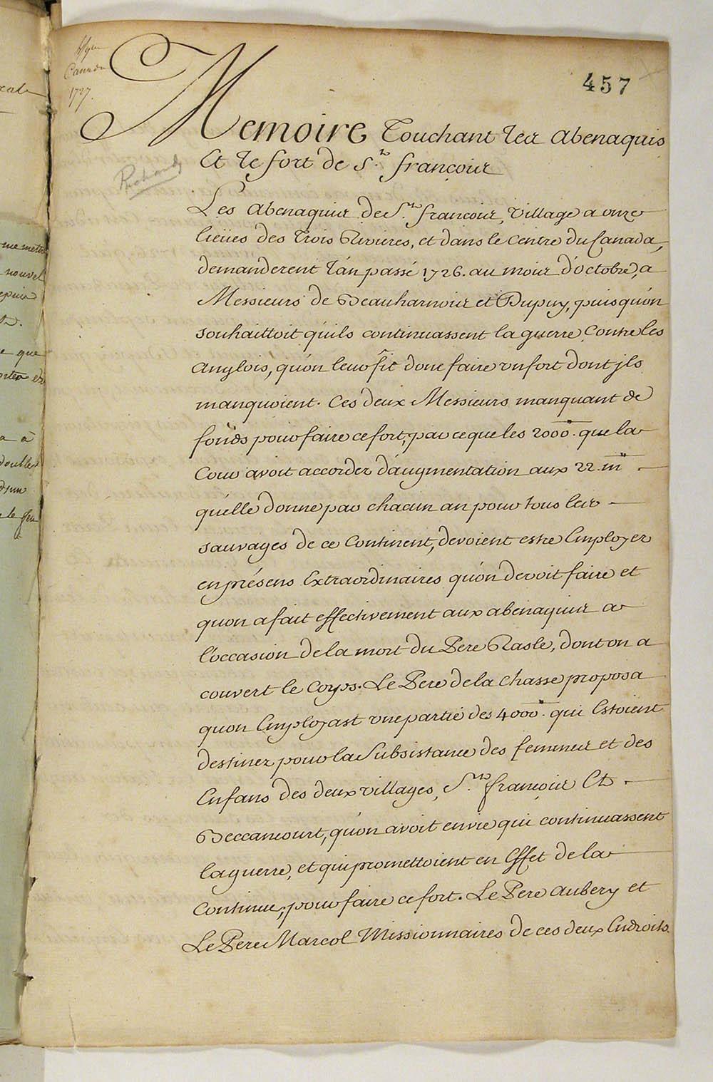 Mémoire concernant les Abénaquis et la guerre contre les Anglais, 1727. FR CAOM COL F3 2 fol. 457-459vo