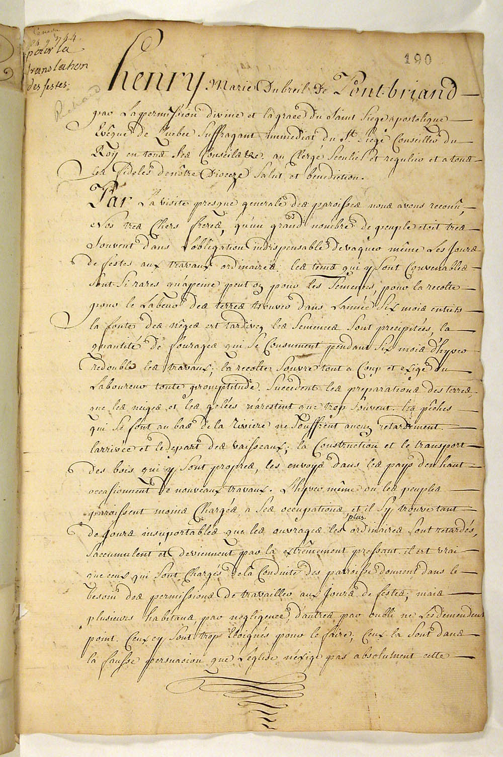 Pastoral letter from the Bishop of Pontbriand reassigning the celebration of a number of feast days to Sundays, November 24, 1744, FR CAOM COL F3 13 fol. 190-191vo