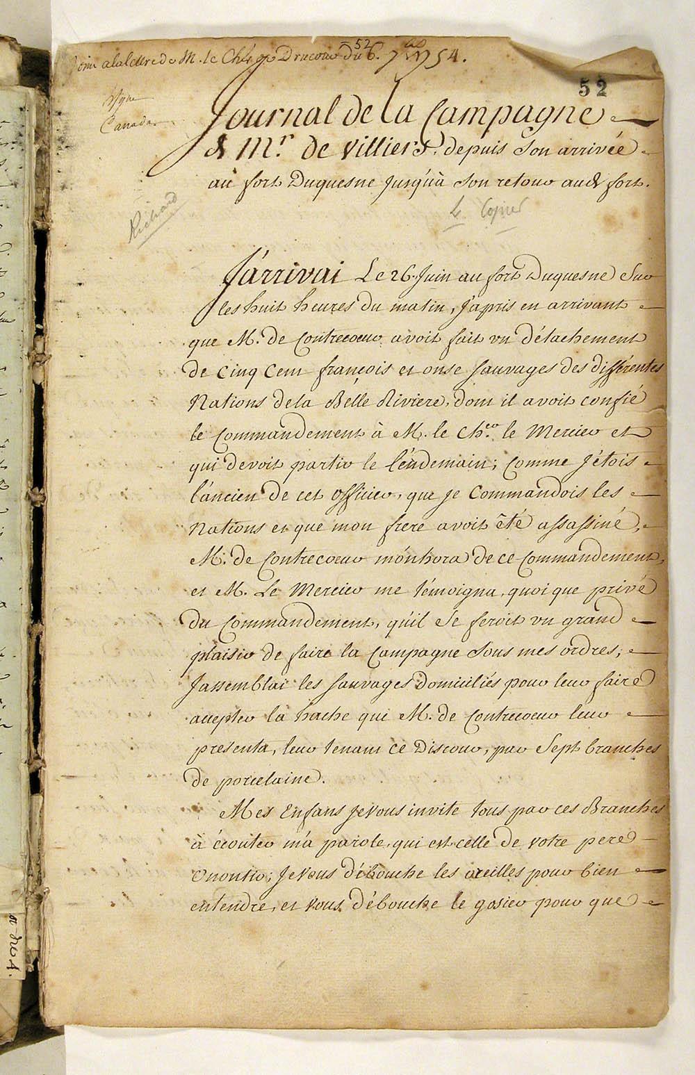 Journal de Louis Coulon de Villiers au gouverneur général Ange Duquesne de Menneville, 6 septembre 1754. FR CAOM COL F3 14 fol. 52-60