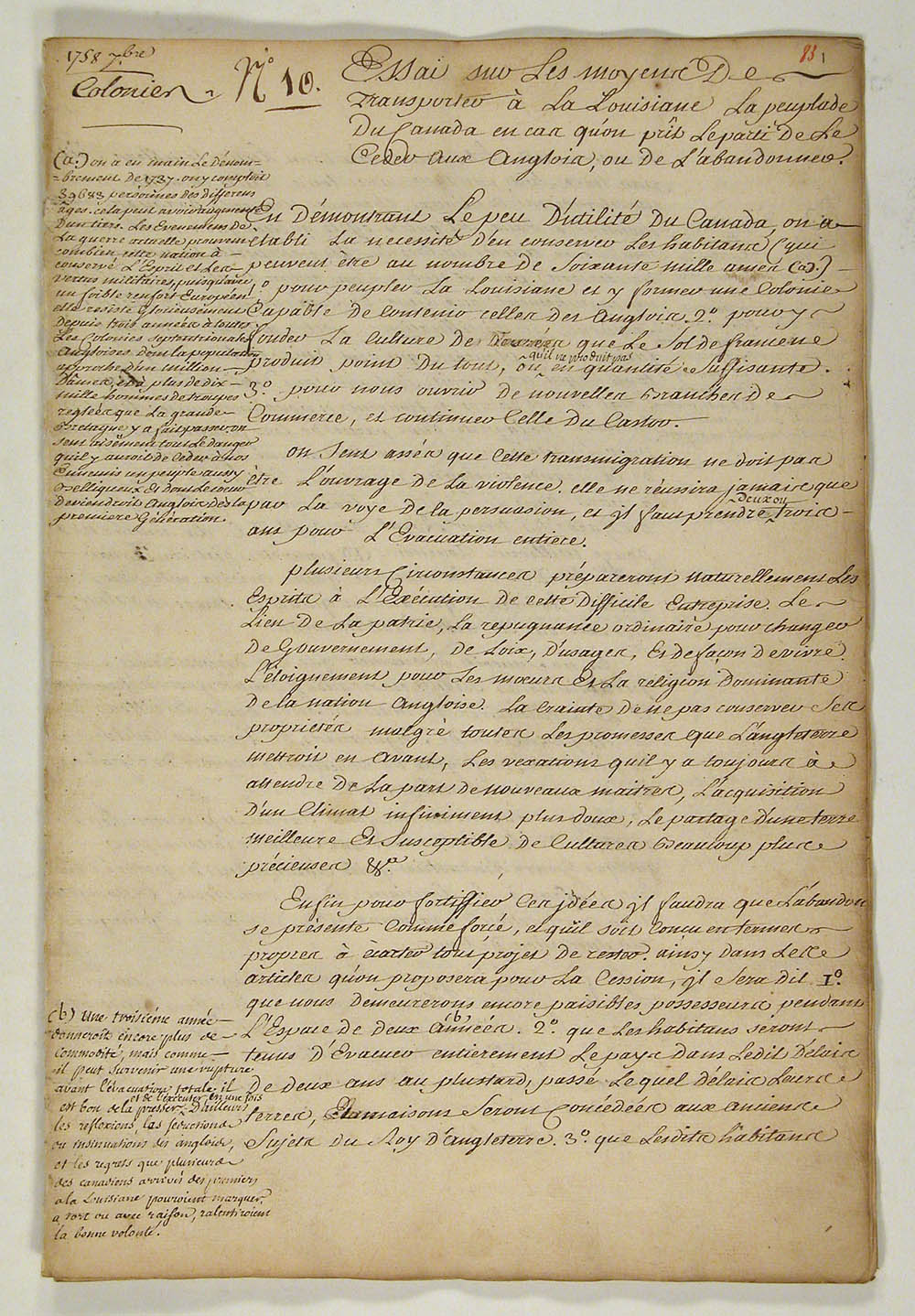 [Essay on the means for transporting the population of Canada to Louisiana in case the decision is made to hand it over to the English or abandon it], December 1758. FR CAOM COL F4 22 fol. p.1-40