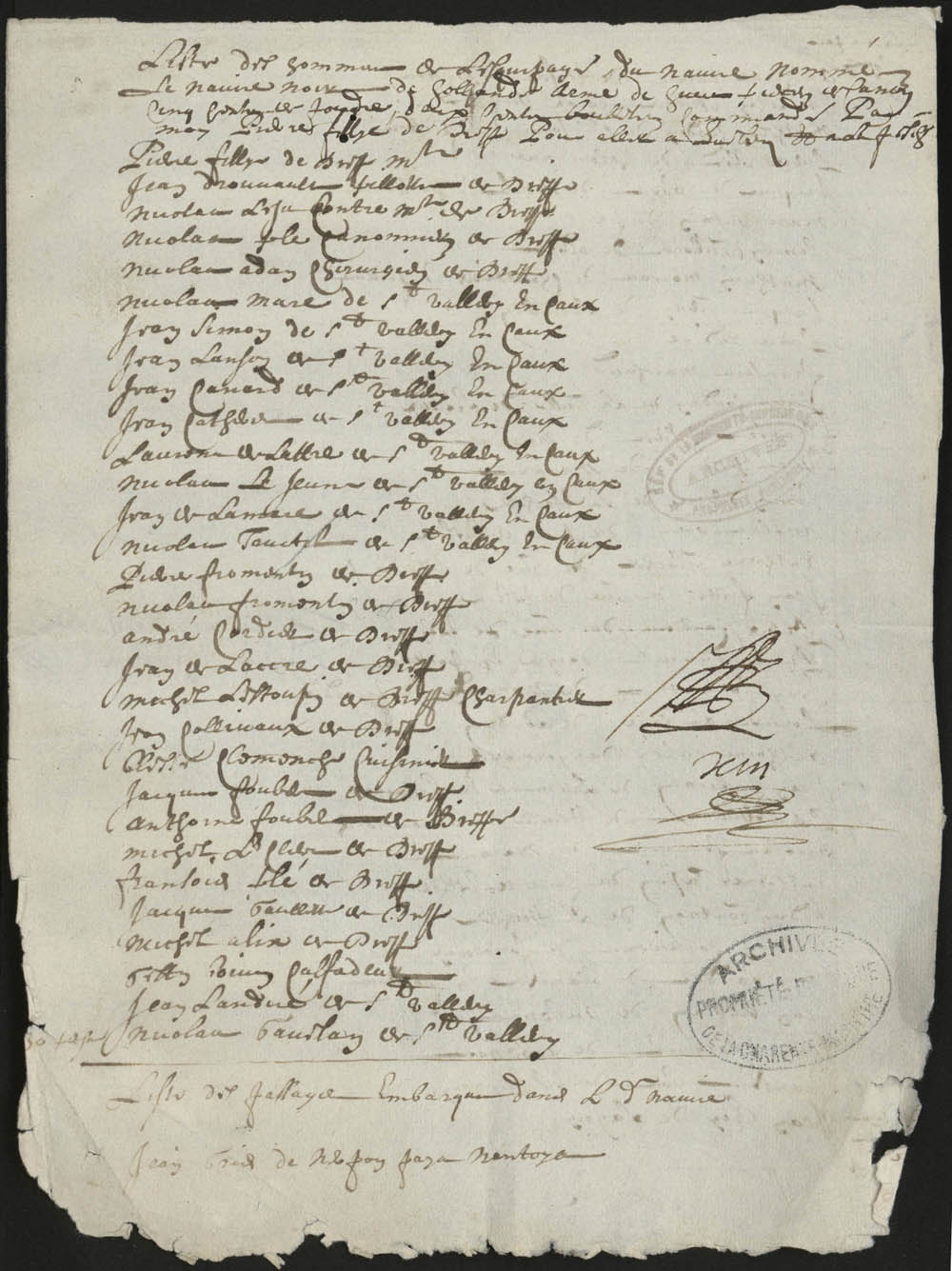 List of crewmen and passengers on the ship Le Noir of Holland, Captain Pierre Fillye, sailing from Dieppe for Québec to fish, 1664 FR AD17 B 5665 pièce 110