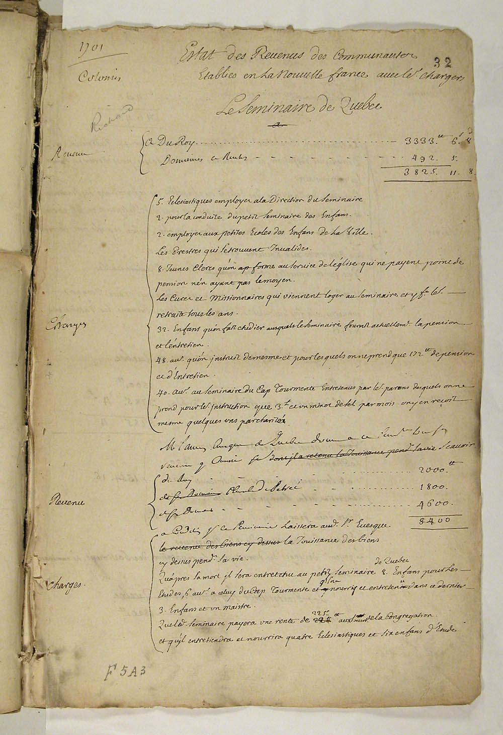 Statement of the Revenues of the Communities Established in New France, with charges, 1701, FR CAOM COL F5A 3 fol. 32-34vo