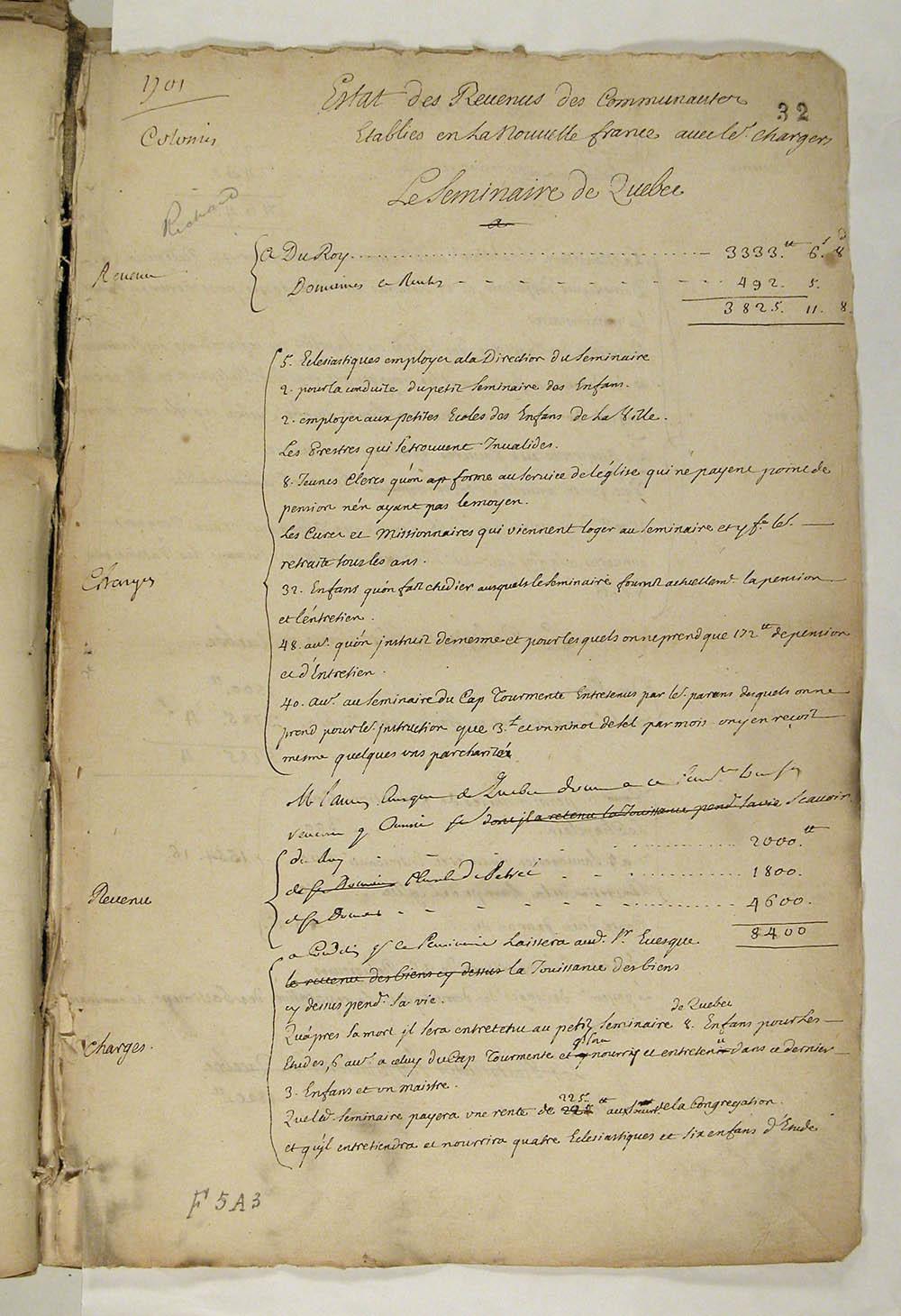 Estat des Revenus des Communautés Etablies en la Nouvelle France, avec les charges, 1701. FR CAOM COL F5A 3 fol. 32-34vo