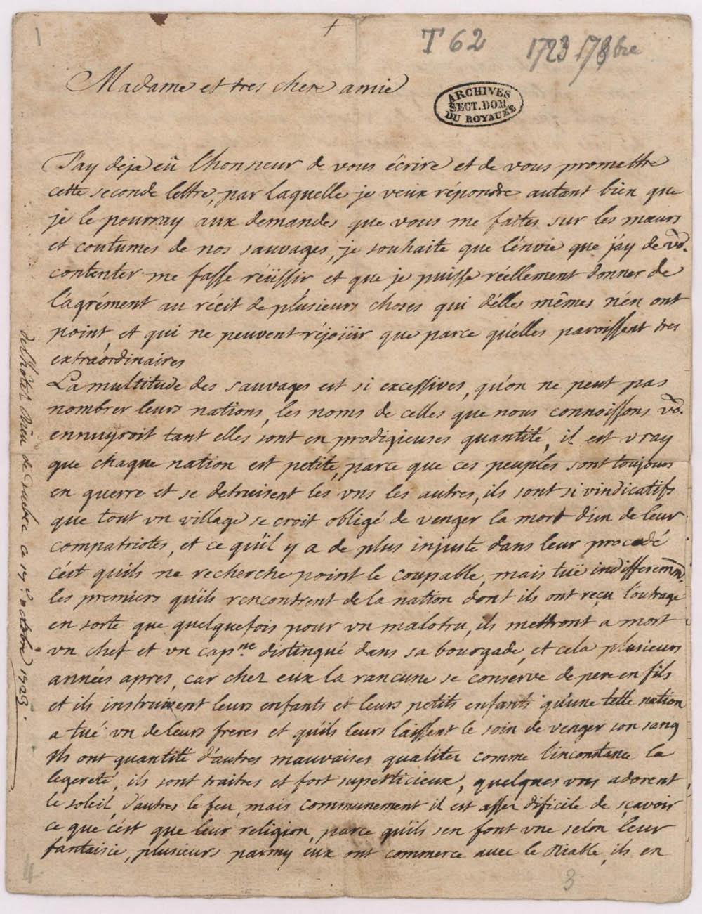 Lettre de mère Marie-Andrée Regnard Duplessis de Sainte-Hélène, religieuse de l'Hôtel-Dieu de Québec, à une amie, 17 octobre 1723. FR CHAN T 62