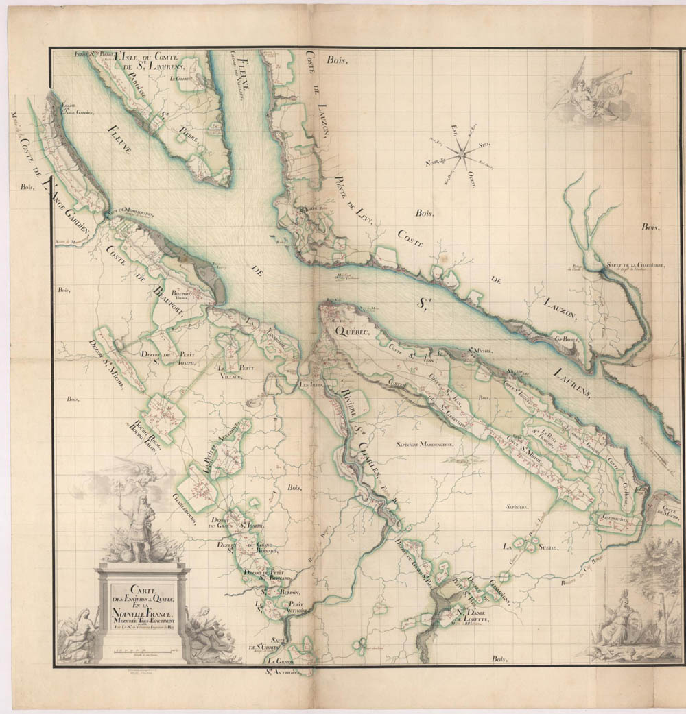 Map of the vicinity around Québec in New France showing the names of the inhabitants and the dwellings, by Robert de Villeneuve, king's engineer, 1688 FR CHAN Marine 6JJ 61 pièce 32