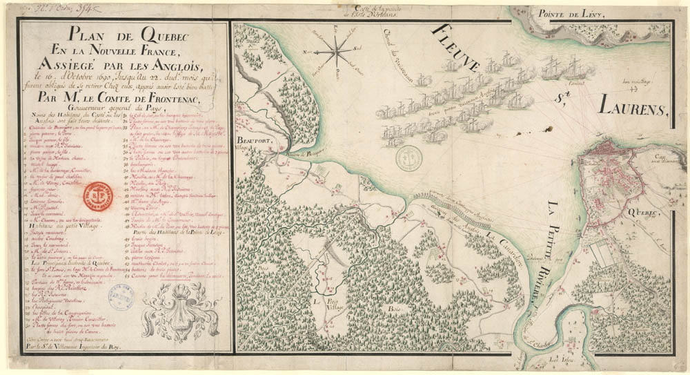 [Plan of Québec besieged from October 16 until the 22nd of said month by the English, who were obliged to retreat to their own territory after having been defeated by Monsieur Le Comte de Frontenac, Governor General of the country …, by Sieur de Villeneuve, Engineer to the King], 1690. FR CAOM 3DFC 354C