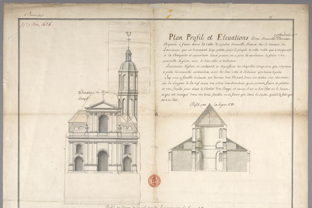 Plan, section and elevation of a new cathedral in Québec, by Gaspard-Joseph Chaussegros de Léry, January 4, 1745, FR CAOM 3DFC 424A