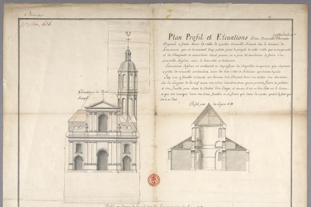 Plan, profil et élévation d'une nouvelle cathédrale à Québec, par Gaspard-Joseph Chaussegros de Léry, 4 janvier 1745. FR CAOM 3DFC 424A