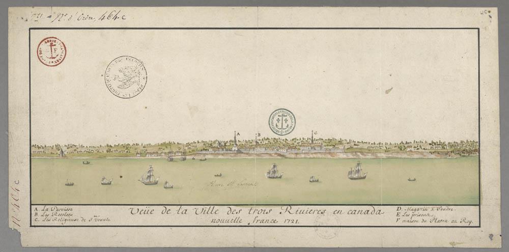 Veue de la ville des Trois-Rivières en Canada, Nouvelle-France, 1721.  FR CAOM 3DFC 464C