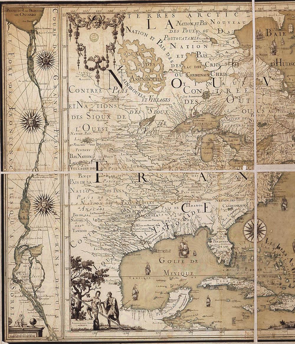 Carte de l'Amérique du Nord, par Jean-Baptiste-Louis Franquelin, 1699 FR Service historique de la Marine Collection des 71 recueils recueil 66 carte no 20