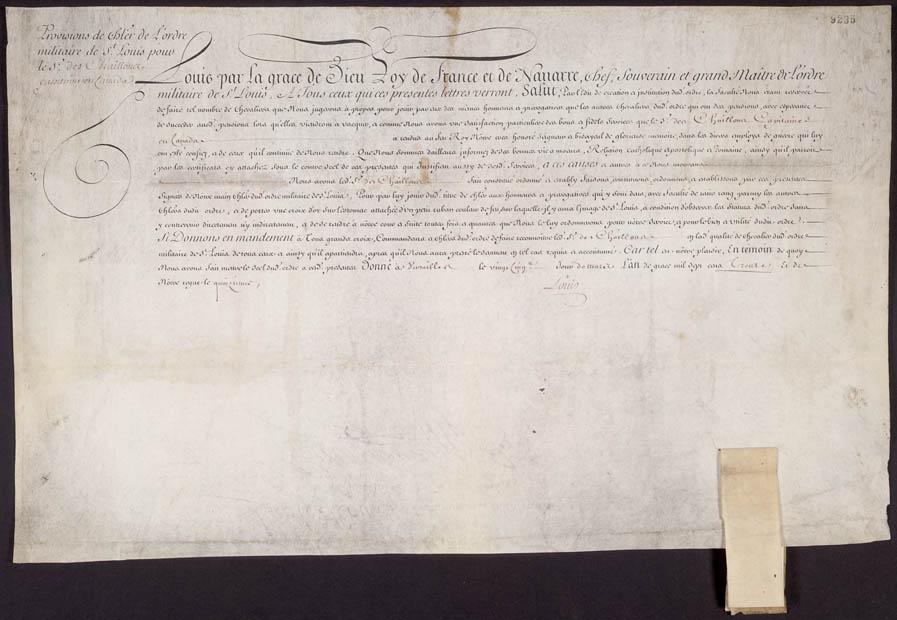 Provisions de chevalier de l'ordre militaire de Saint-Louis pour le Sieur de Chailloux, 25 mars 1730. CA ANC MG6-F80 14 p. 9235