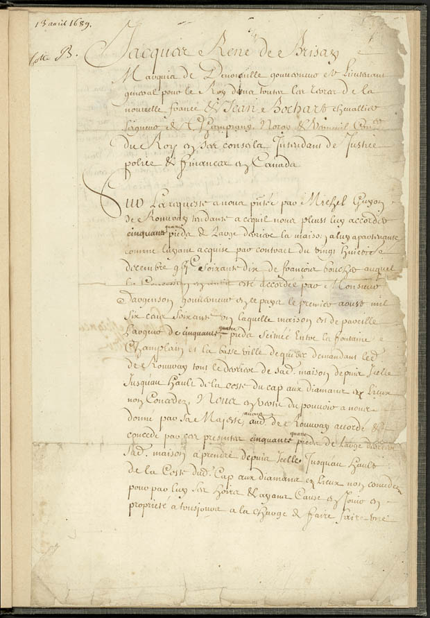 Concession of a site in the town of Québec, by Governor Jacques-René Briasay de Denonville, and Intendant Jean Bochart de Champigny, to Michel Guyon de Rouvray, April 13, 1689   CA ANC MG18-H9