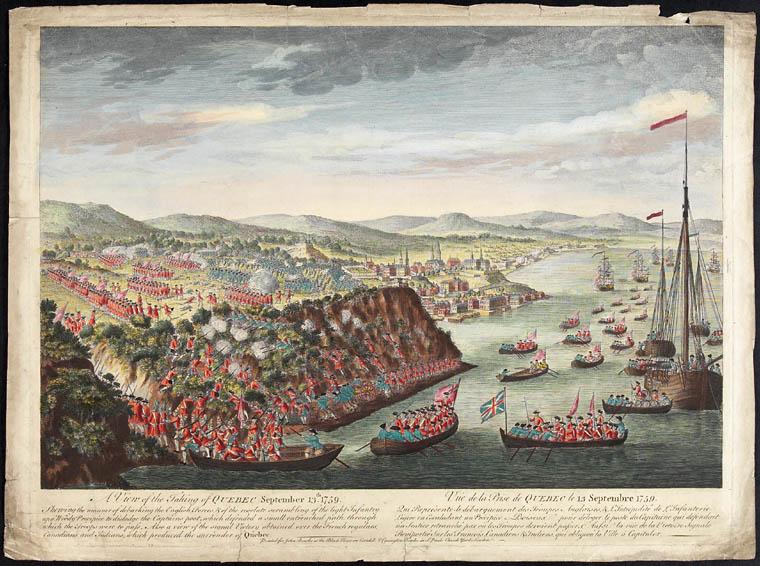 Vue de la prise de Québec par l'armée anglaise commandée par le général Wolfe, le 13 septembre 1759, pour le London Mag, 1760], 1760. CA ANC C-41082