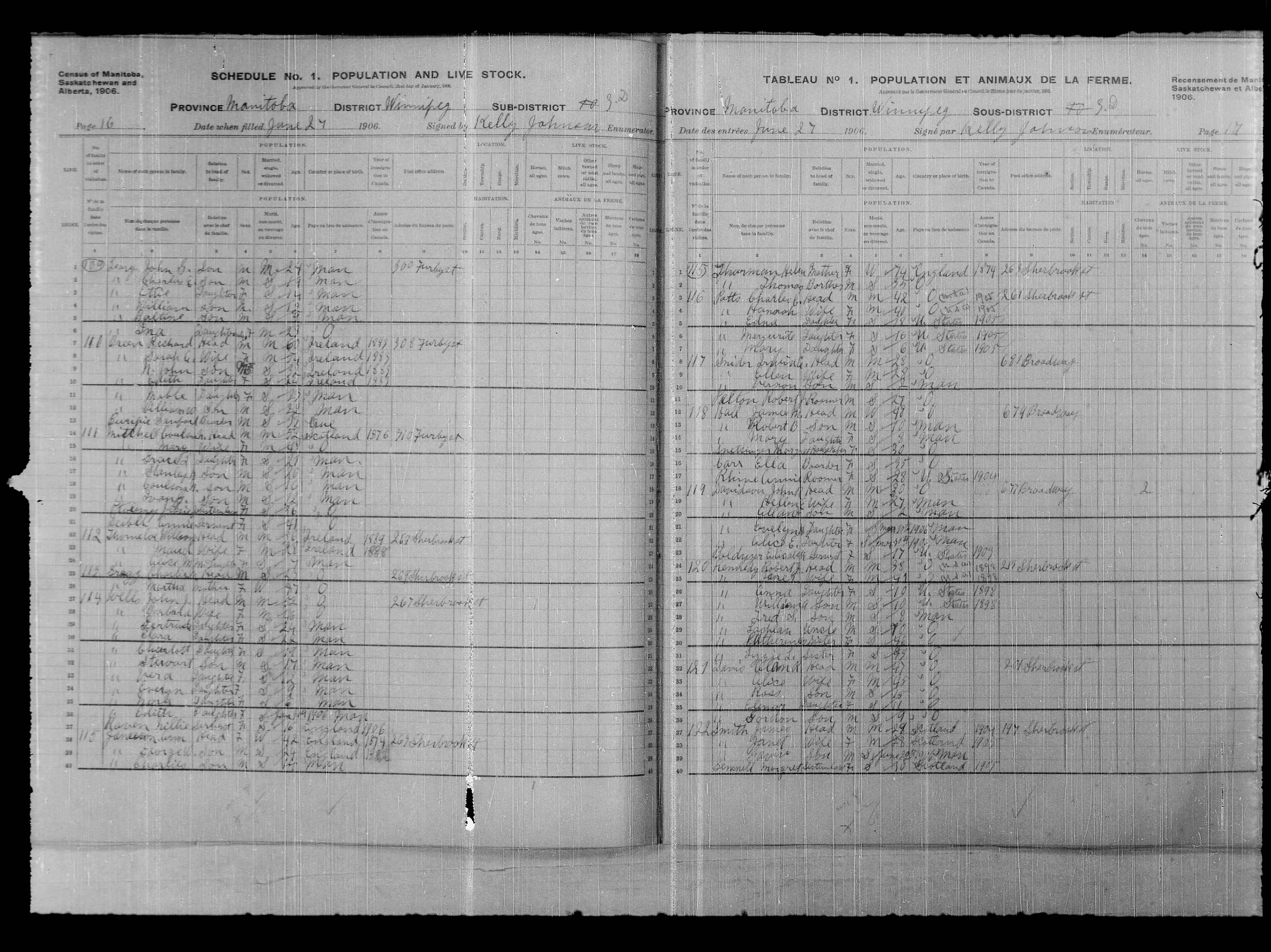 Digitized page of Census of Northwest Provinces, 1906, Page number 16, for Coulson N Mitchell