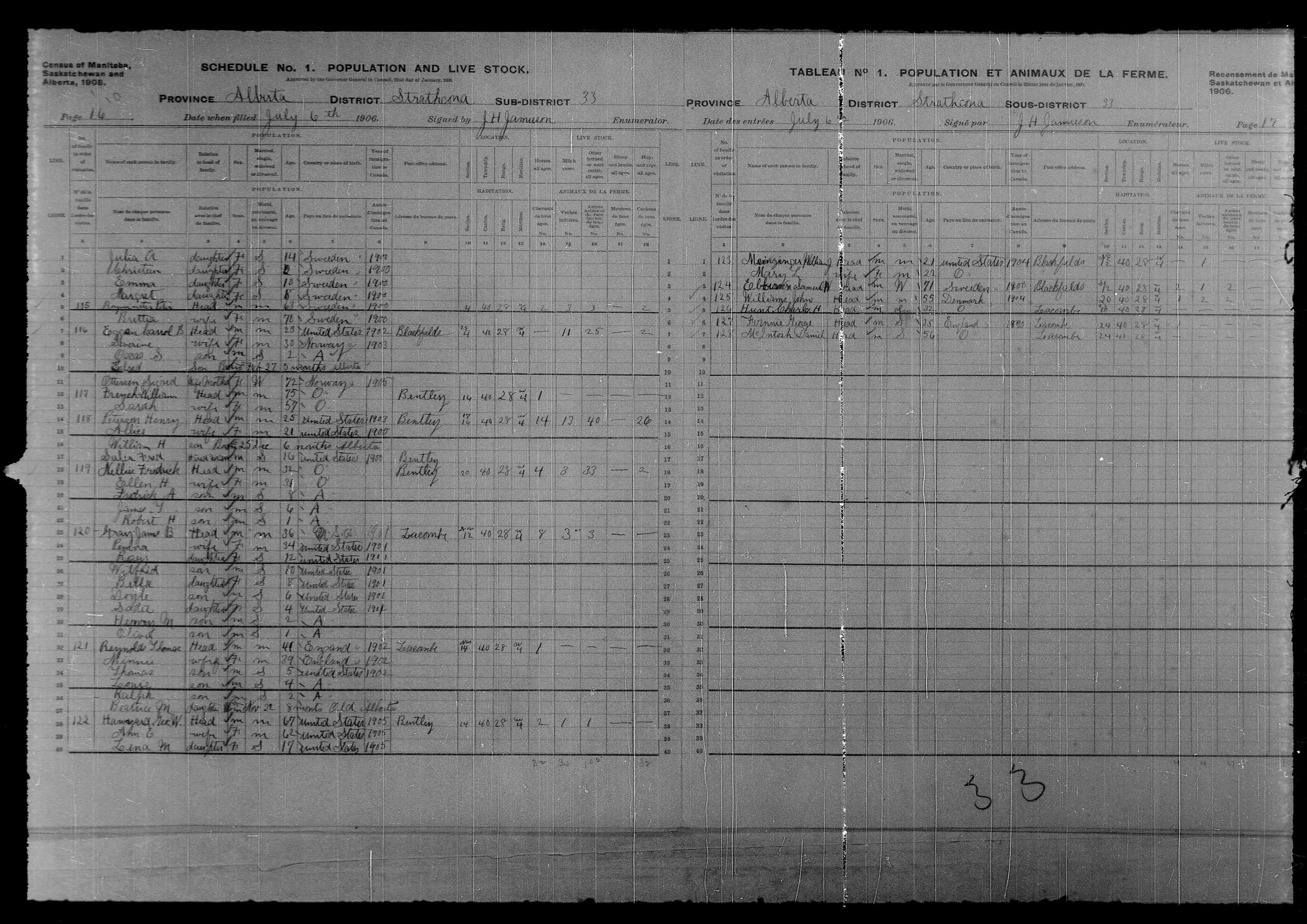 Digitized page of Census of Northwest Provinces, 1906, Page number 16, for Severine Eggan