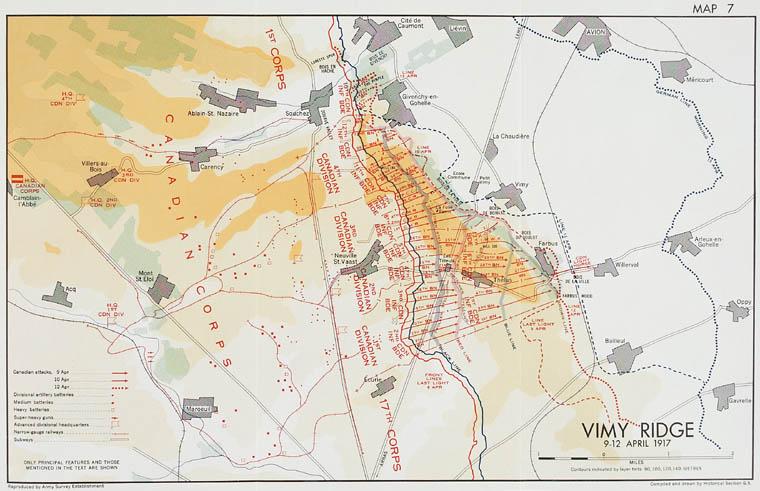 Carte de la crête de Vimy