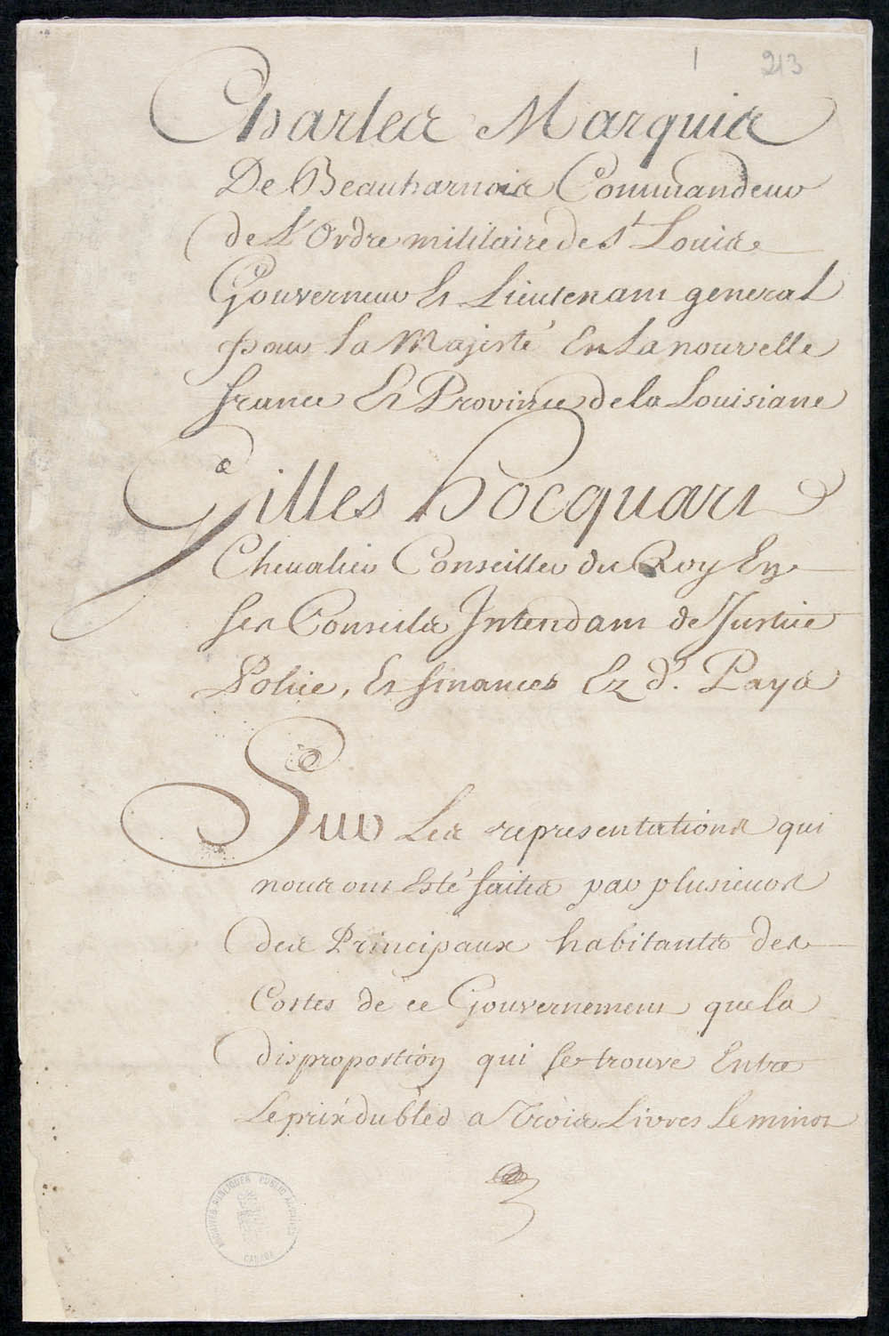 Ordinance from Charles de Beauharnois de La Boische, Governor of New France, and Gilles Hocquart, Intendant, regulating the price of wheat and flour, March 6, 1738, CA ANC MG8-A6 1