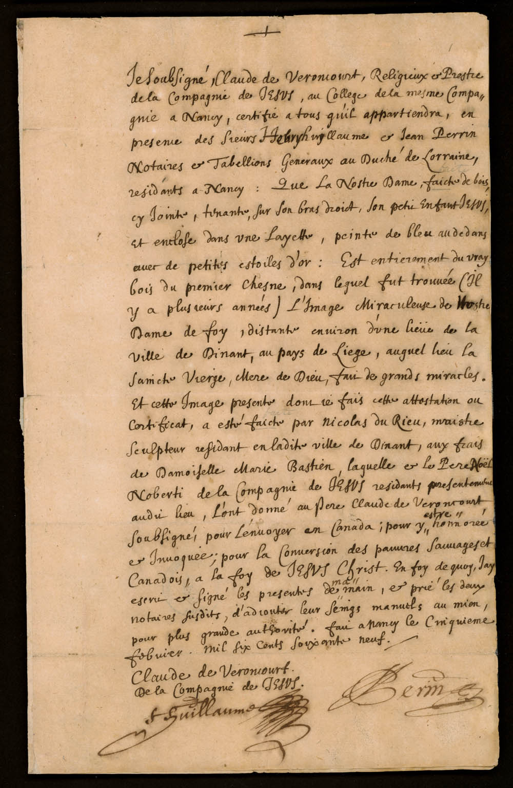 Declaration of the Jesuit Claude de Veroncourt concerning the statue of the Holy Virgin in the chapel of the Huron village near Québec, February 5, 1669, CA ANC MG18-E18