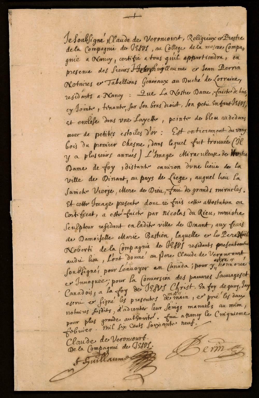 Déclaration du jésuite Claude de Veroncourt sur la statue de la Sainte Vierge dans la chapelle de la bourgade des Hurons près de Québec, 5 février 1669. CA ANC MG18-E18