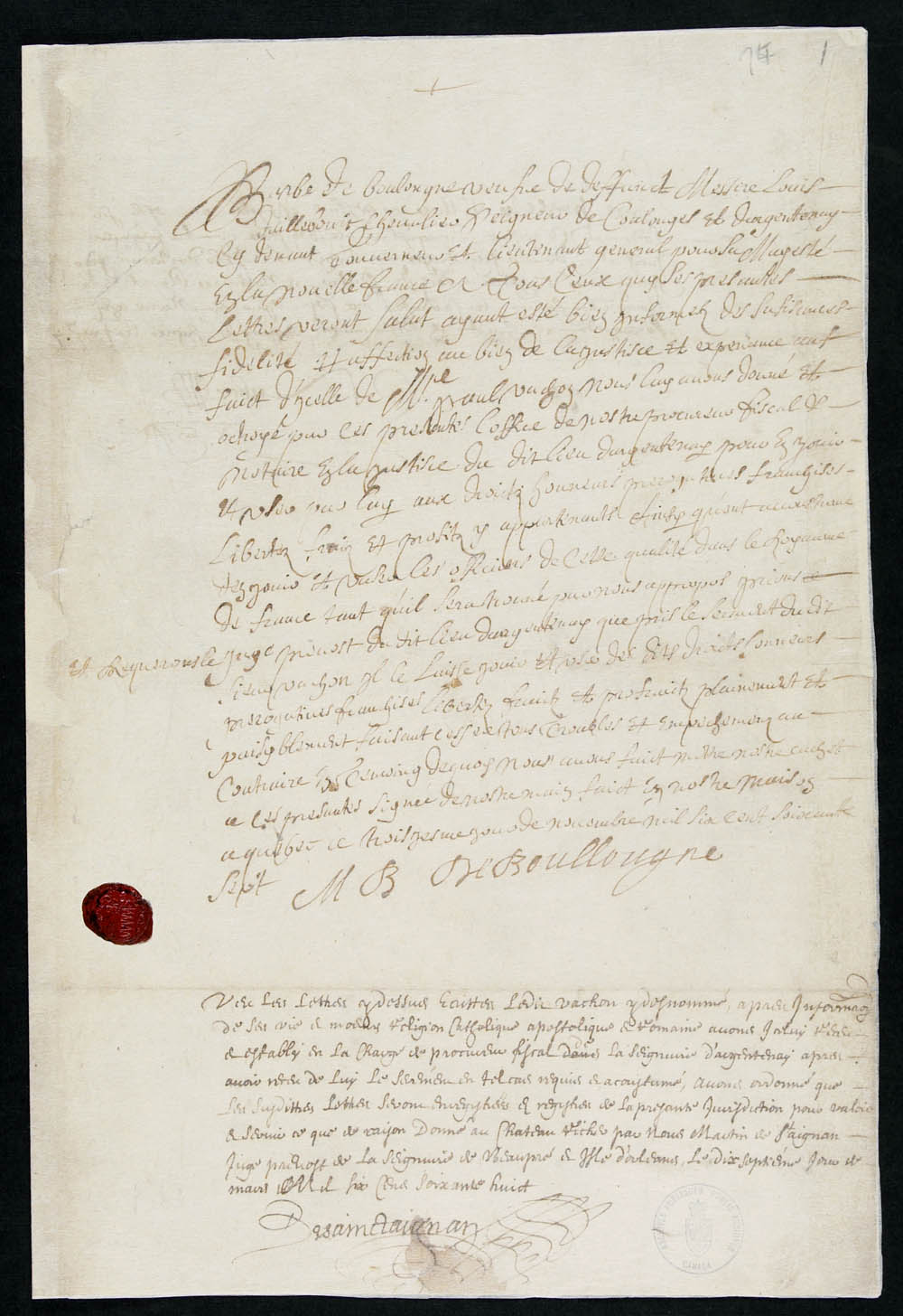 Commission as financial administrator and notary of the seigneury of Argentenay, granted to Paul Vachon by Marie-Barbe de Boullongne, November 3, 1667, CA ANC MG8-F100